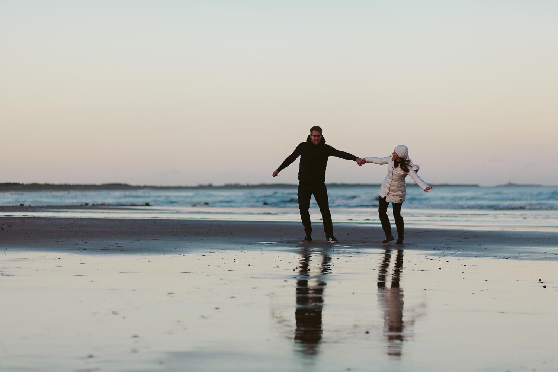 Northumberland Engagement Photographer // Nadia & Andrew // Turning Circles on the Beach