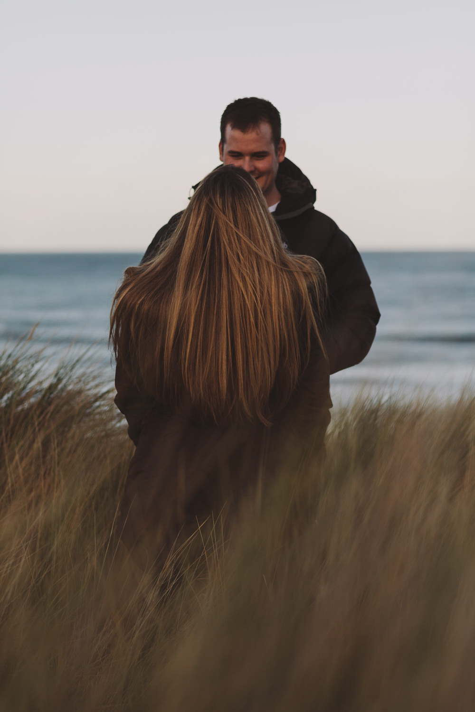 Callum and Dannielle on the dunes at Bamburgh Beach, Northumberland Coast
