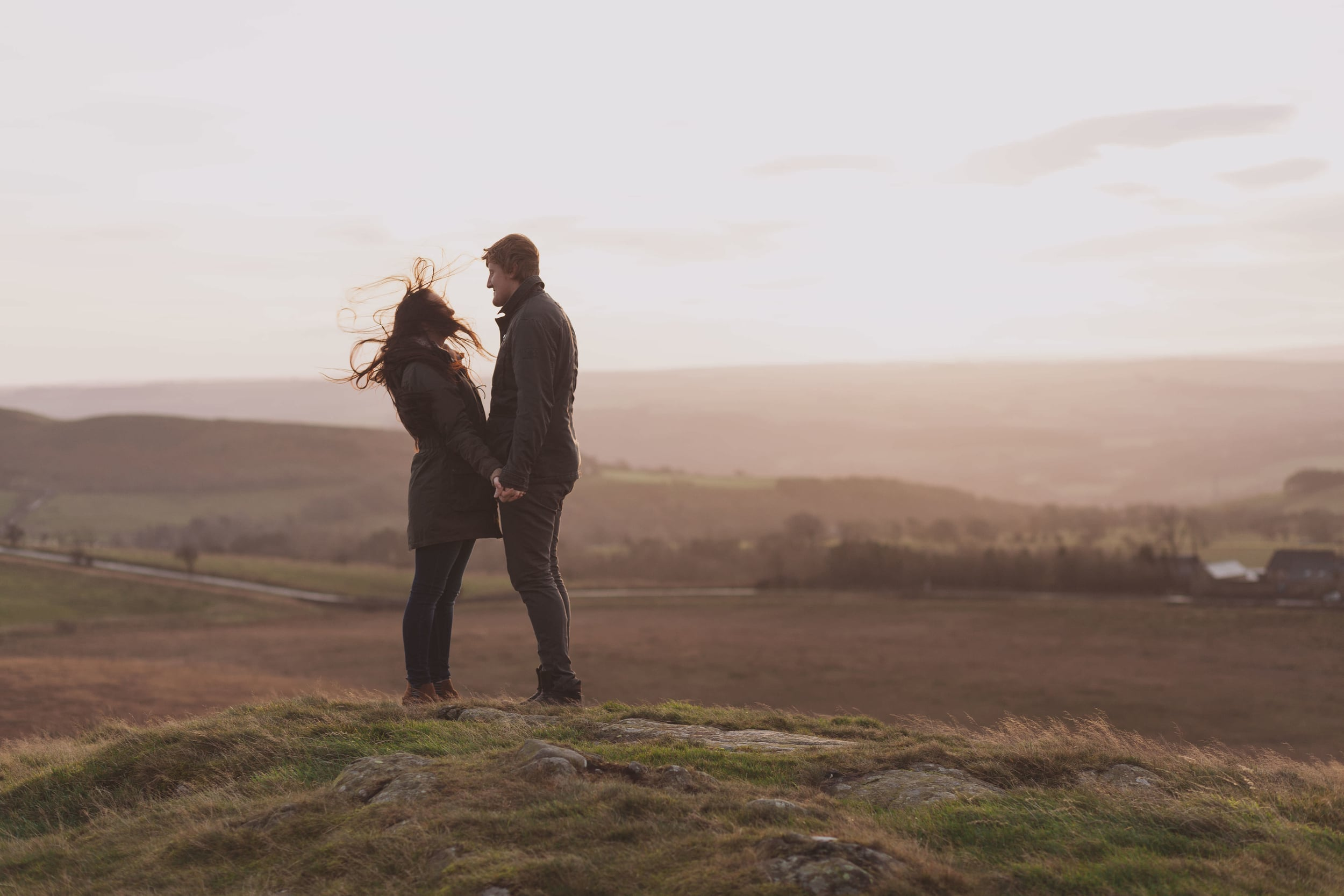 Northumberland Engagement Photograph // Rebecca & Chris // Hair blowing in the wind