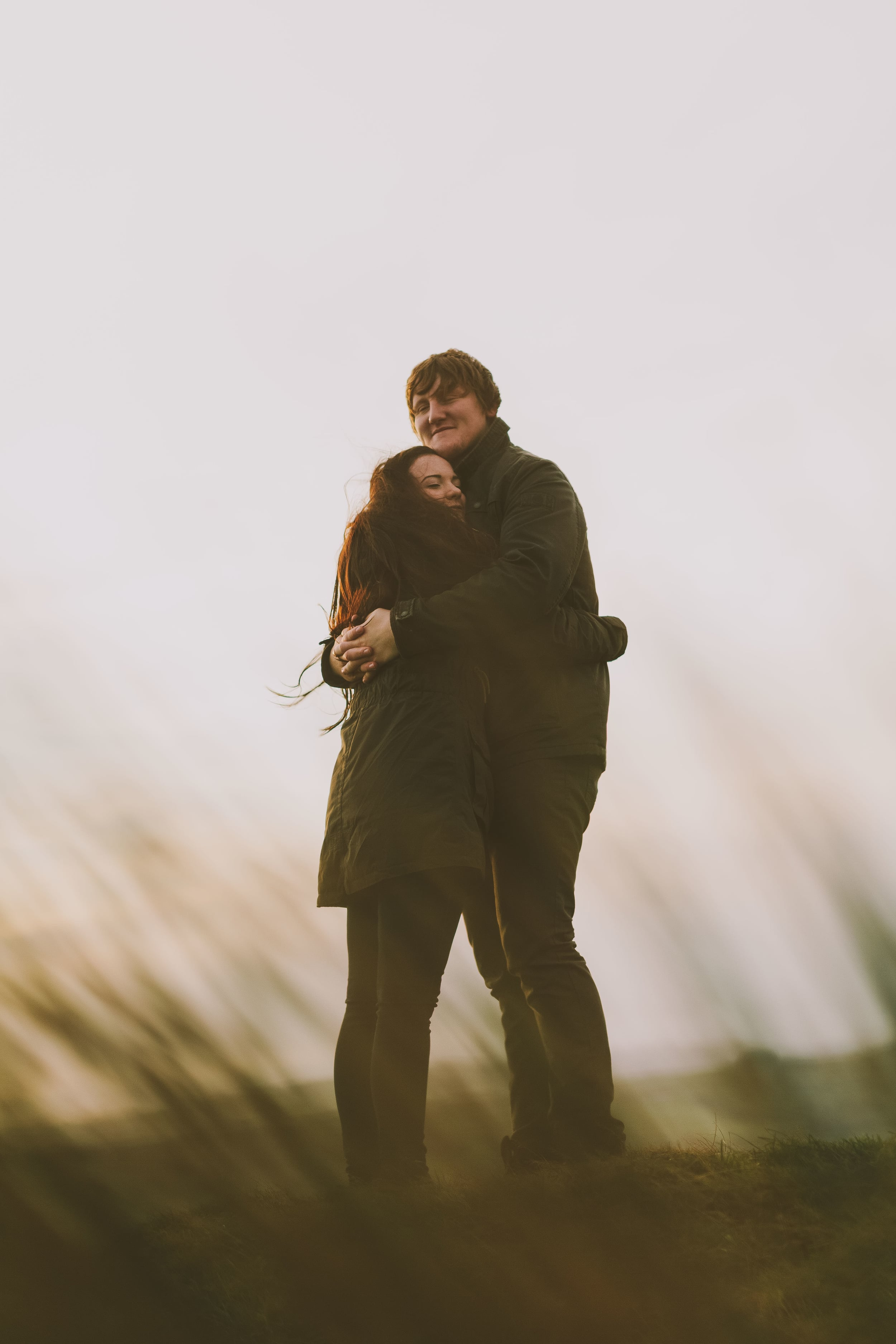 Northumberland Engagement Photograph // Rebecca & Chris // Holding each other