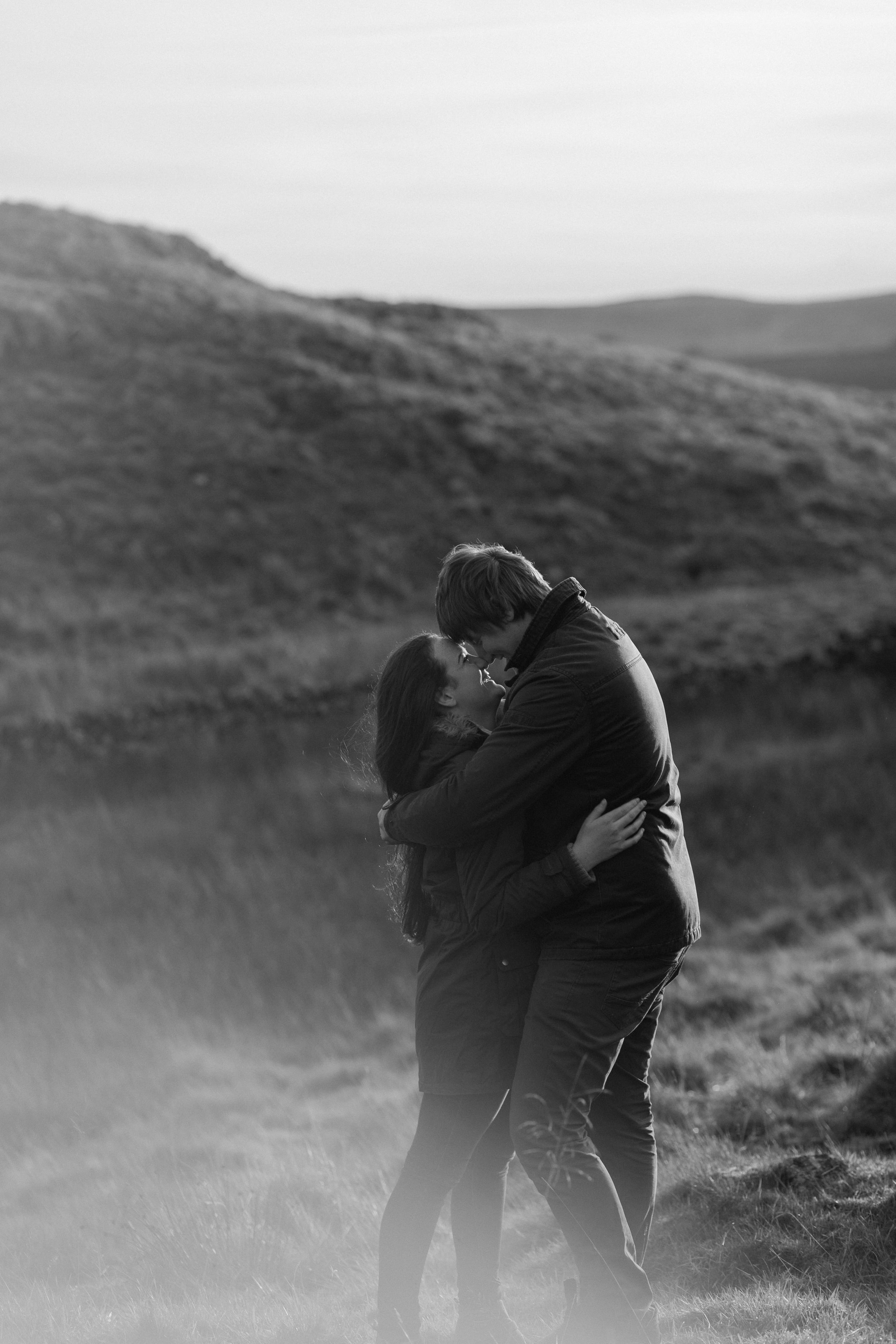 Northumberland Engagement Photograph // Rebecca & Chris // Romantic Black and White