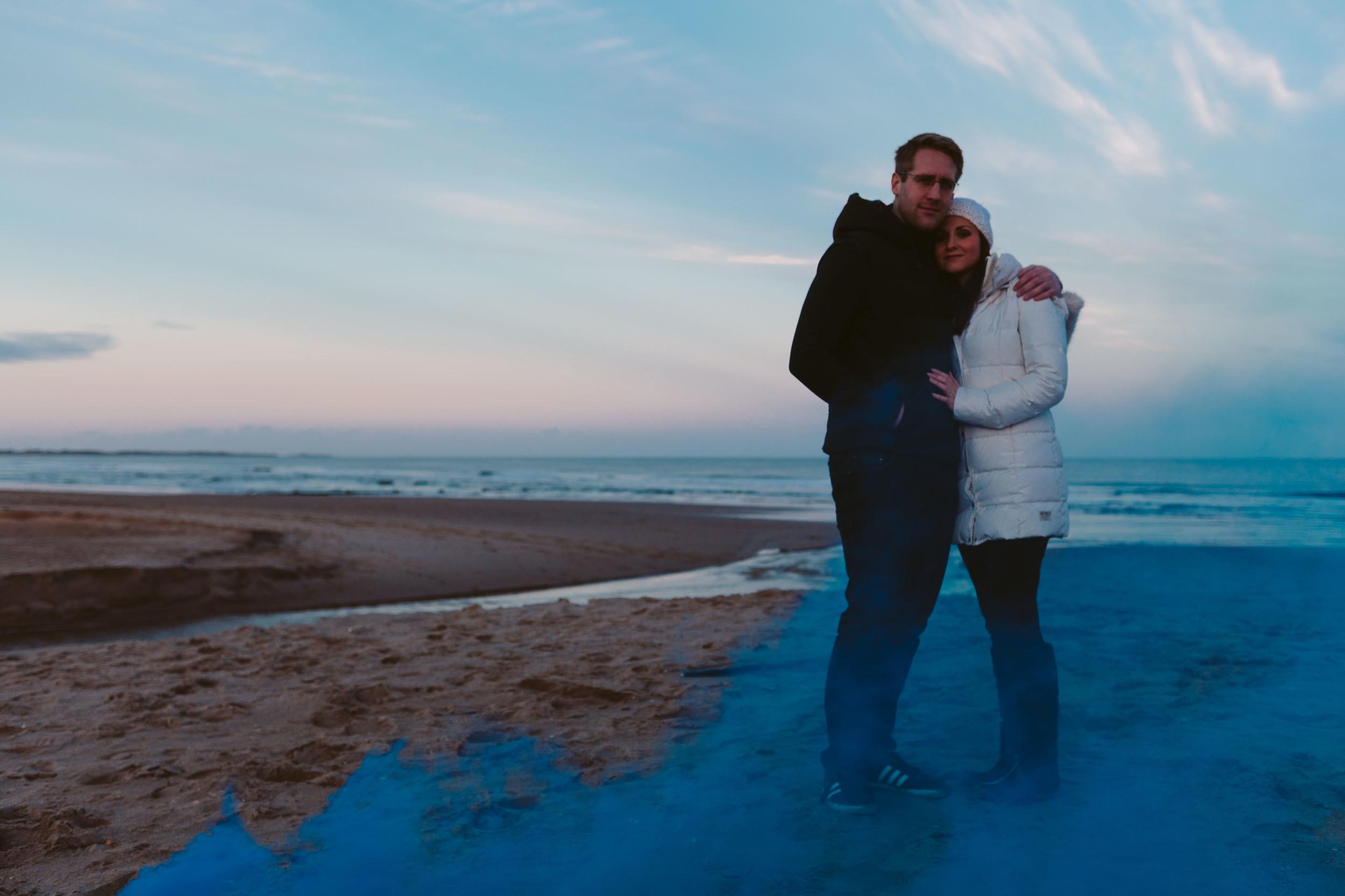 Northumberland Wedding and engagement photographer Druridge Bay Smoke Bomb