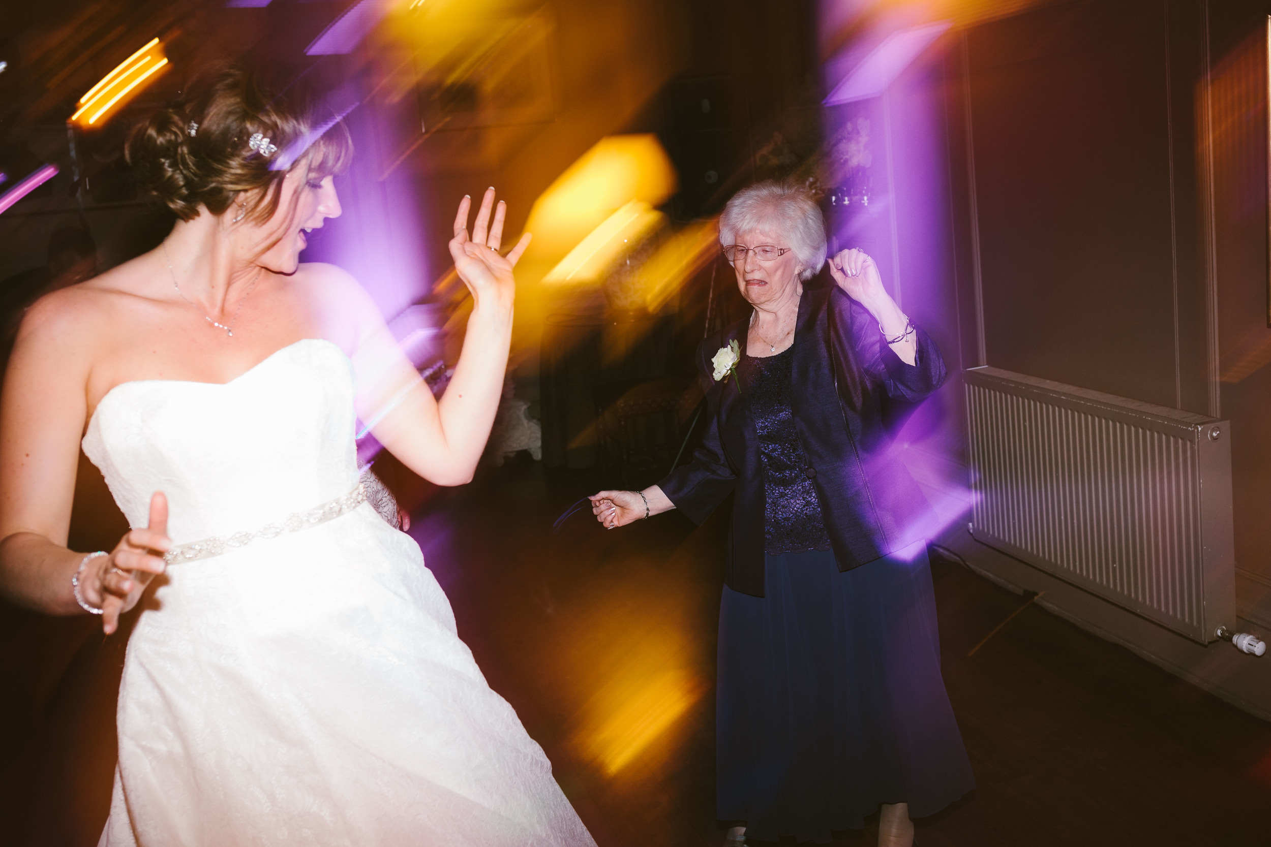 Northumberland Wedding photographer // Bride dancing with grandma