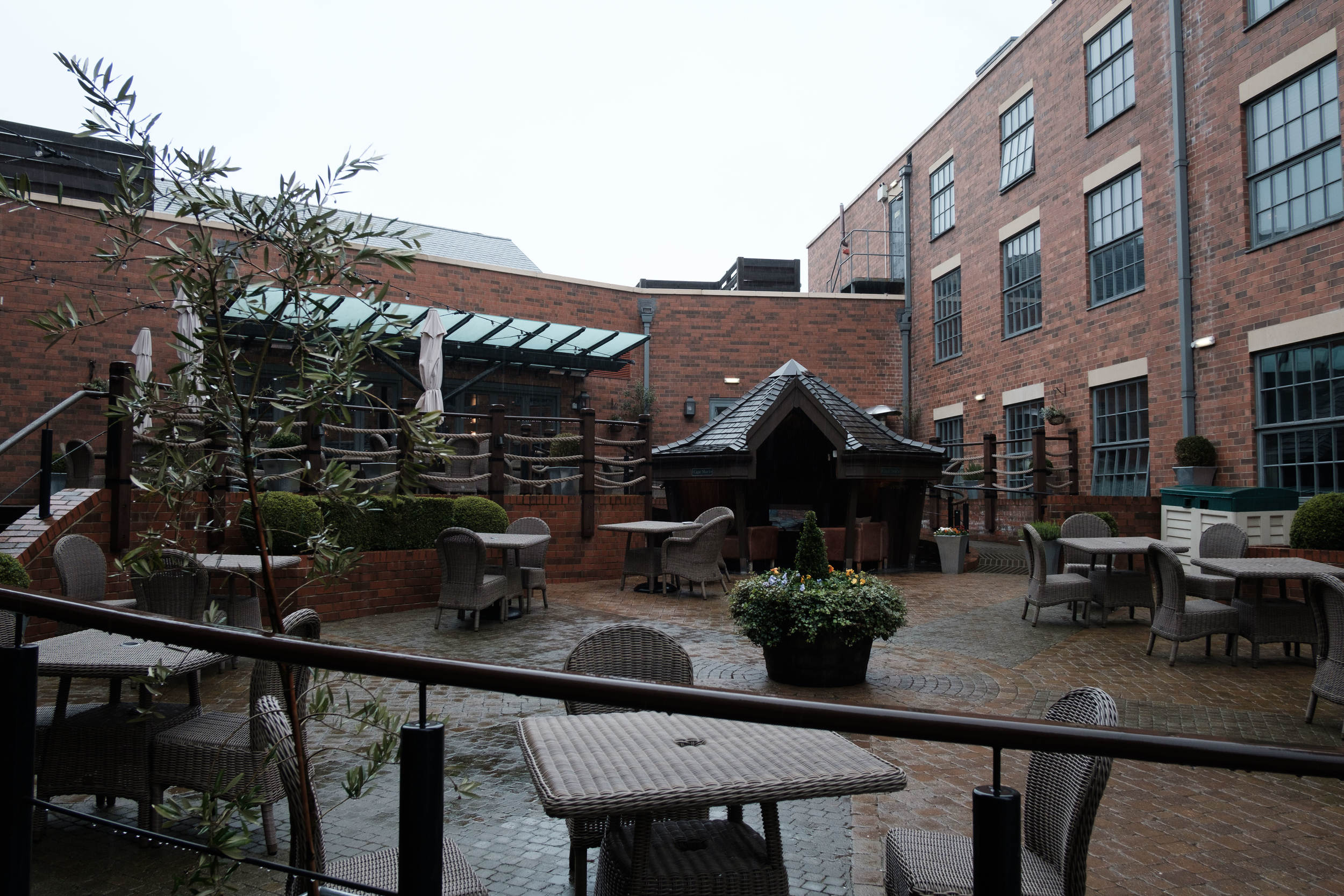 The central courtyard of Hotel du Vin - including the Cigar Shack