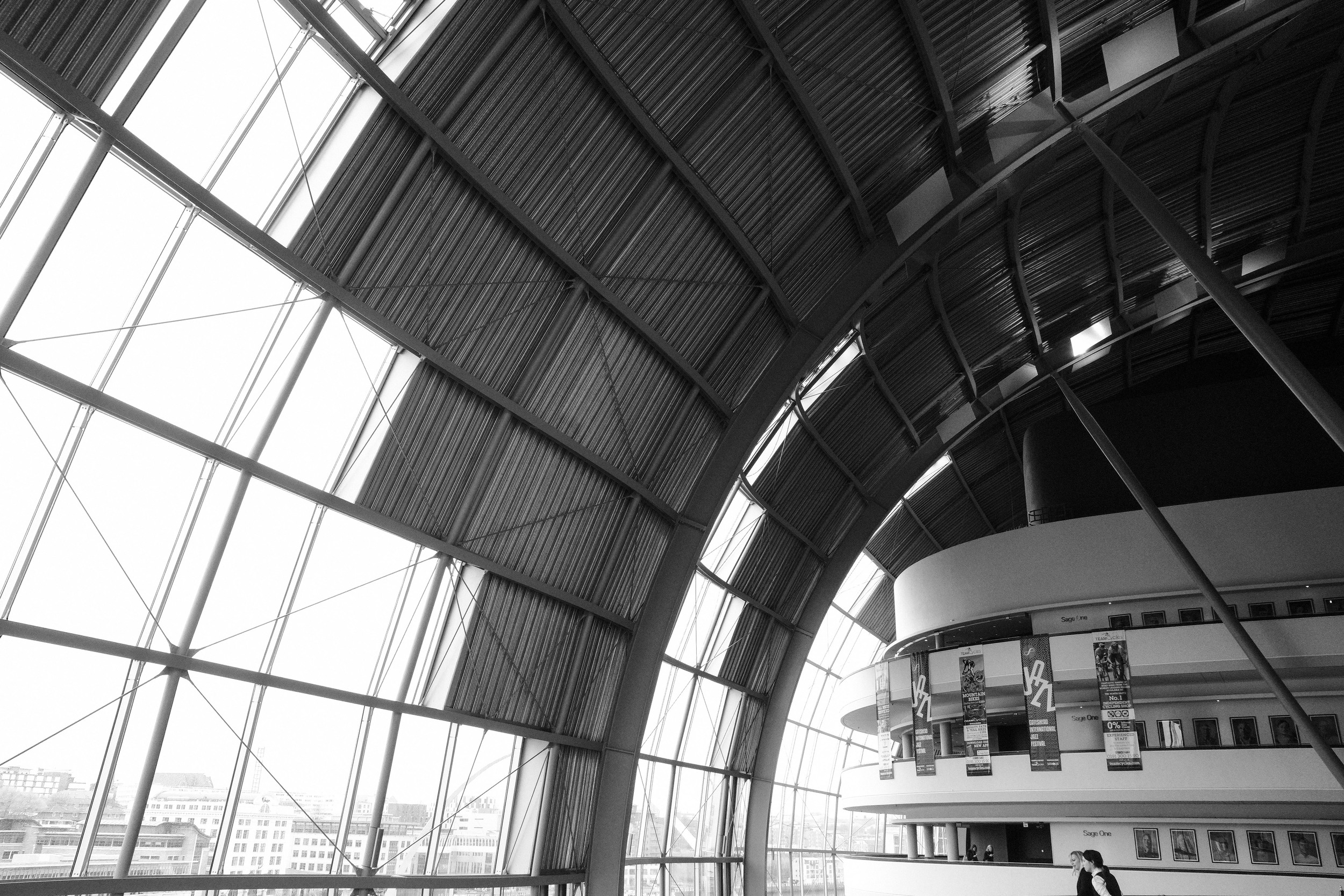 The interior of the Sage Gateshead is a unique and exciting space