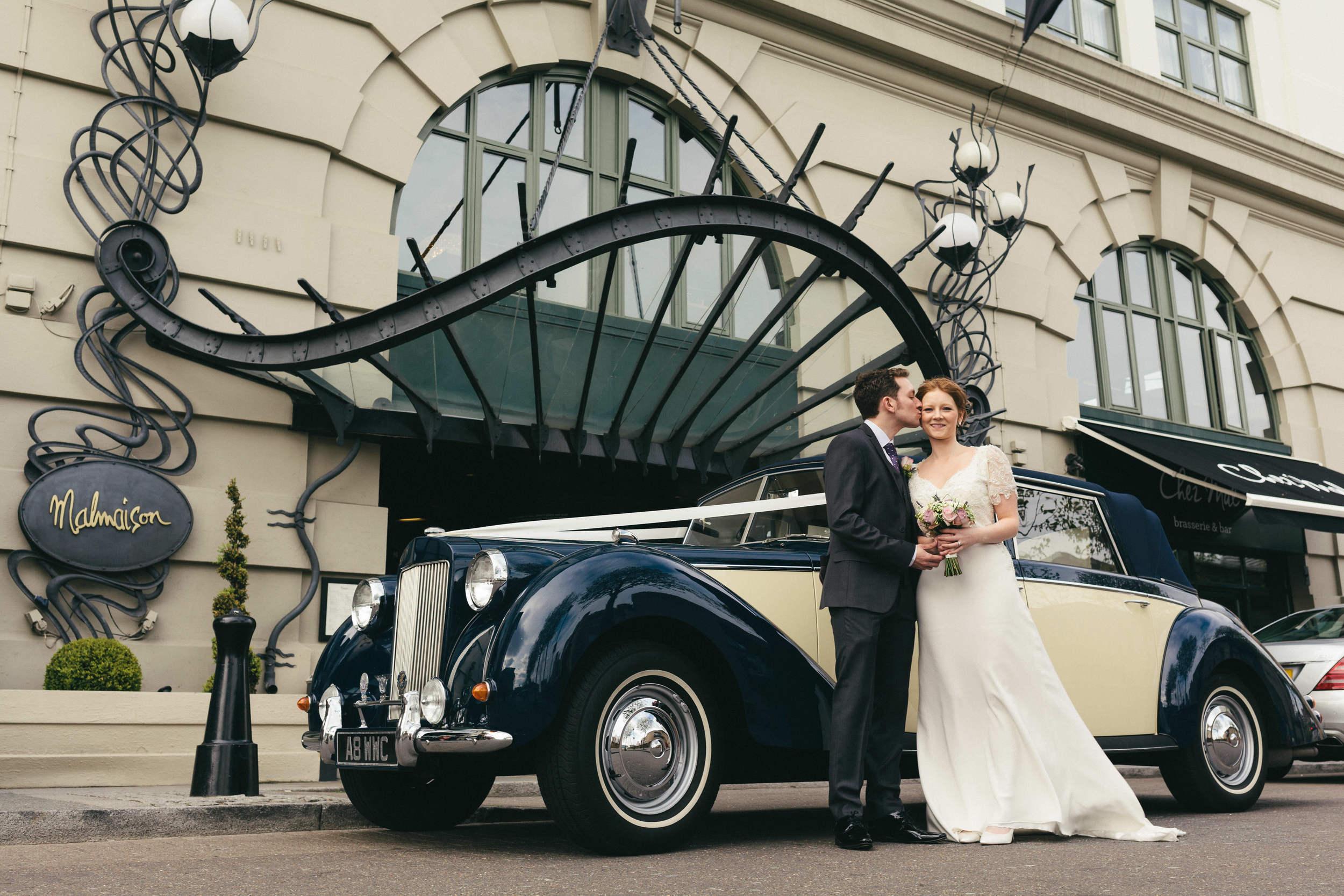 Vintage wedding car parked outside Malmaison Newcastle