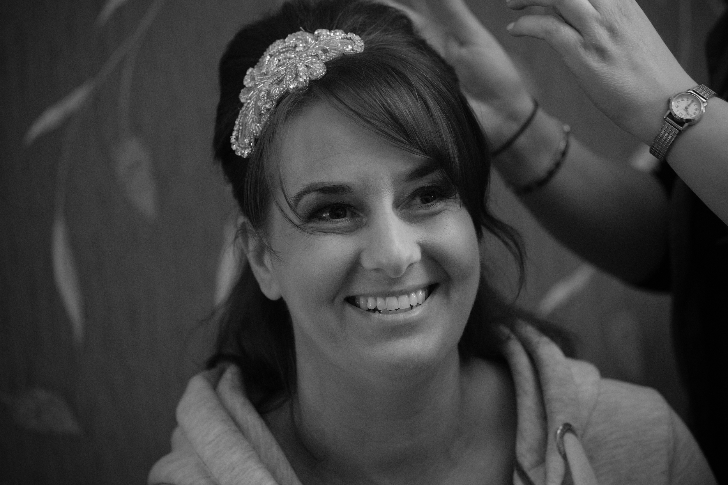 Newcastle Wedding Photographer // Bride smiling while getting ready