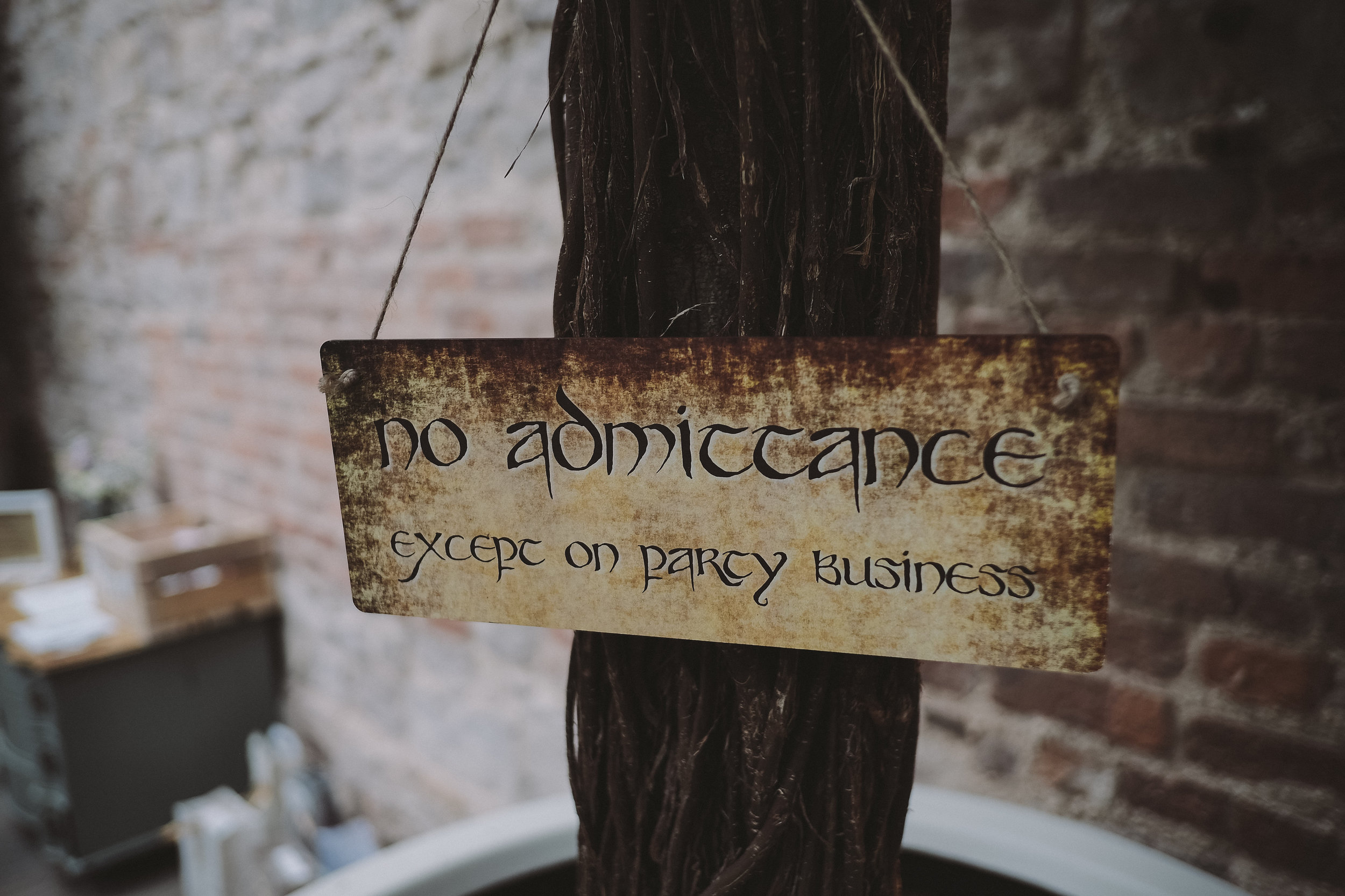 A sign in the style of Lord of the Rings at a wedding at Newton Hall Northumberland by Barry Forshaw