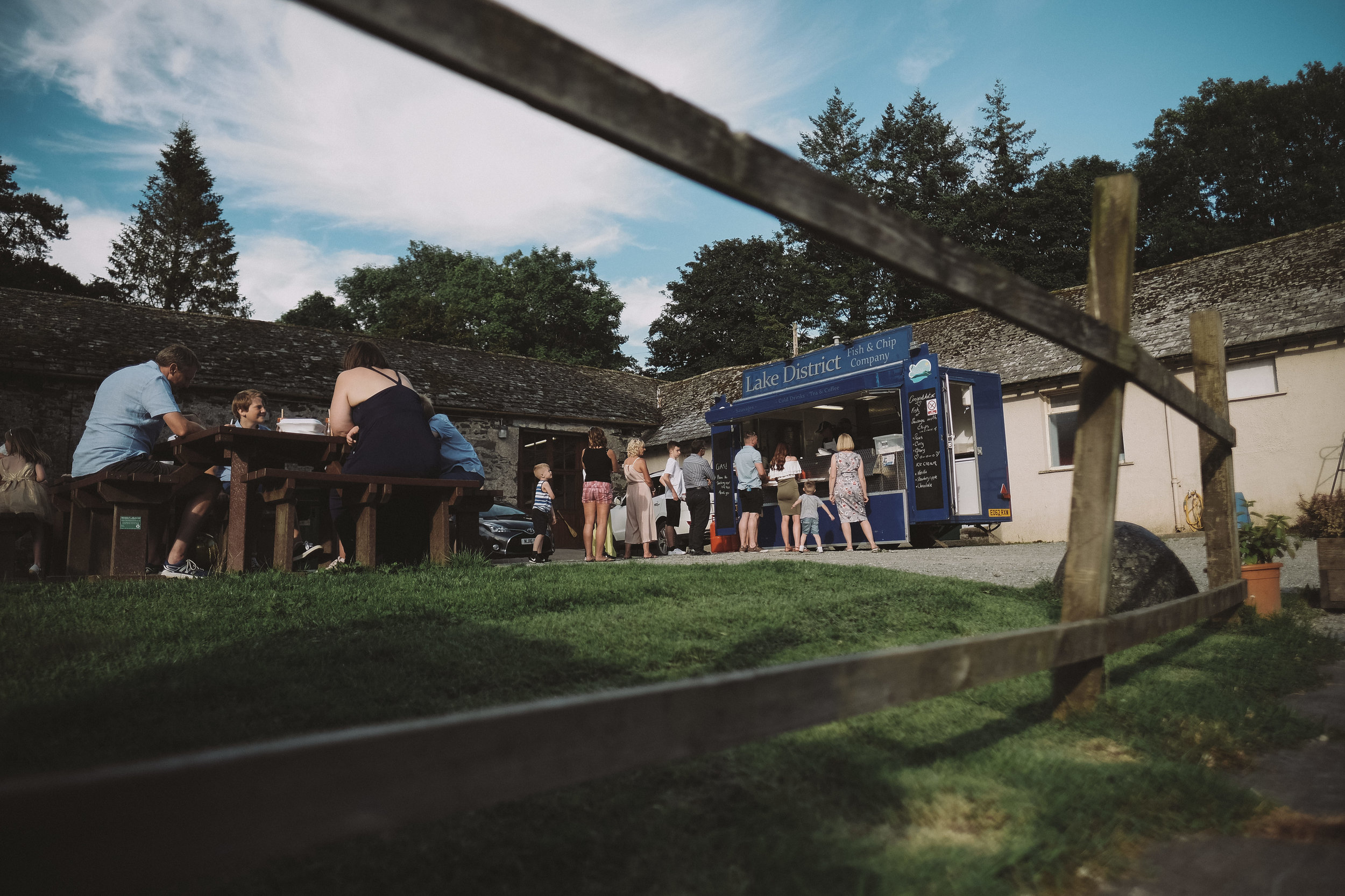 A fish and chip van at Julia and Darren's Lake District wedding by Barry Forshaw