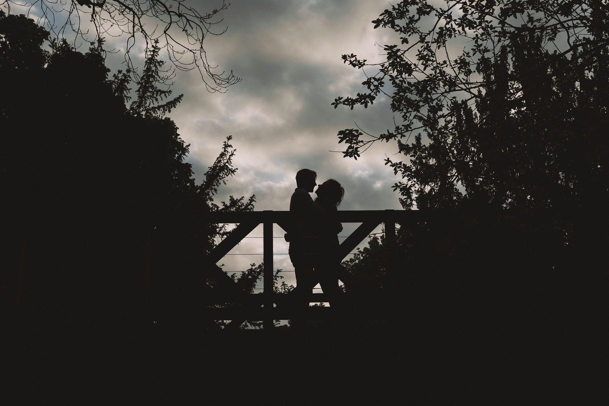 Silhouette of engaged couple at Saltwell Park