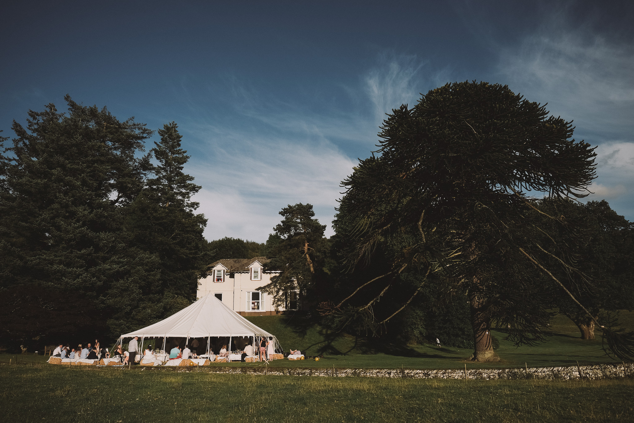 Wedding marquee under blue skies in the Lake District