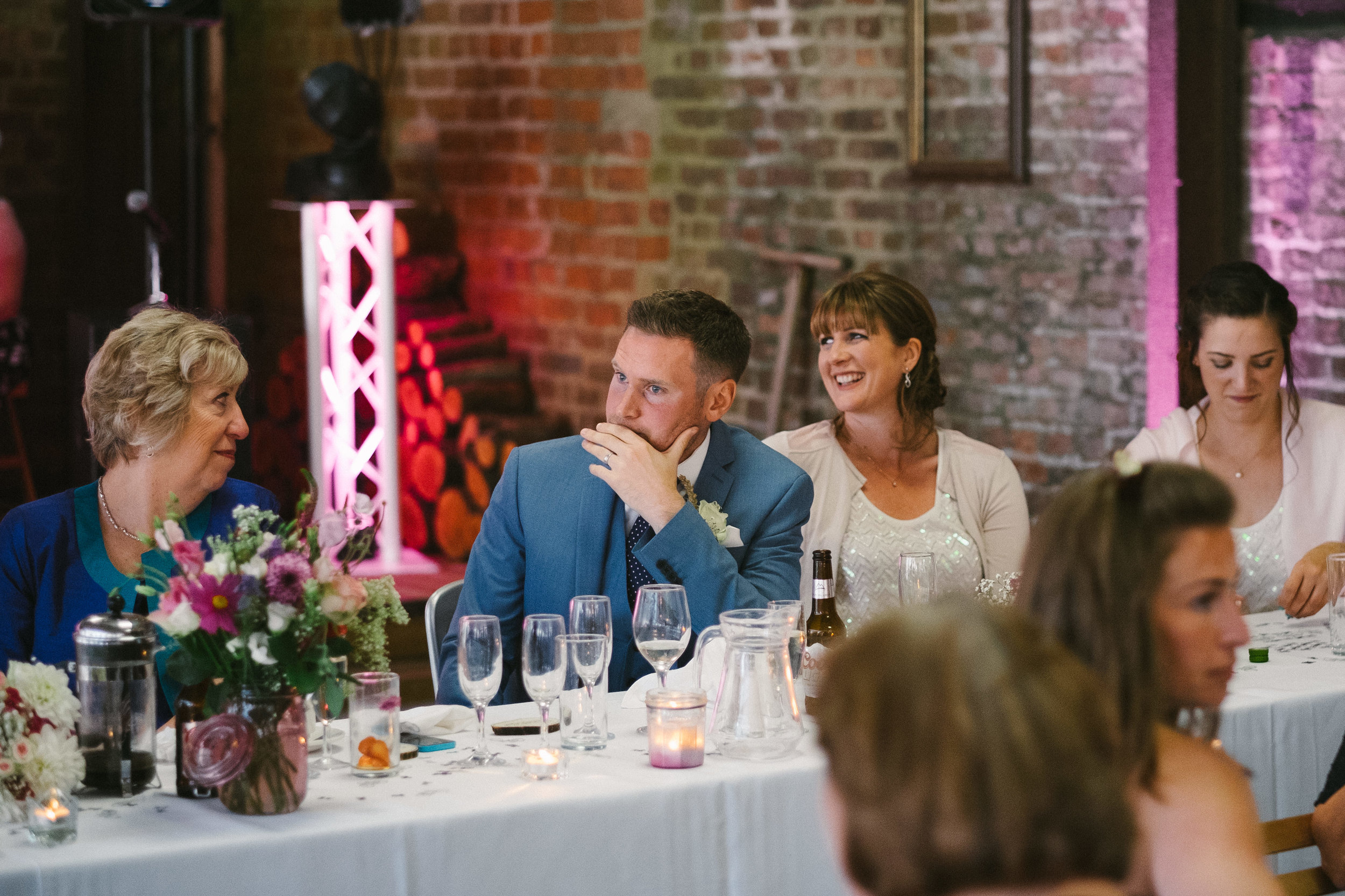 Brides brother cries during the wedding speeches at Dale Farm