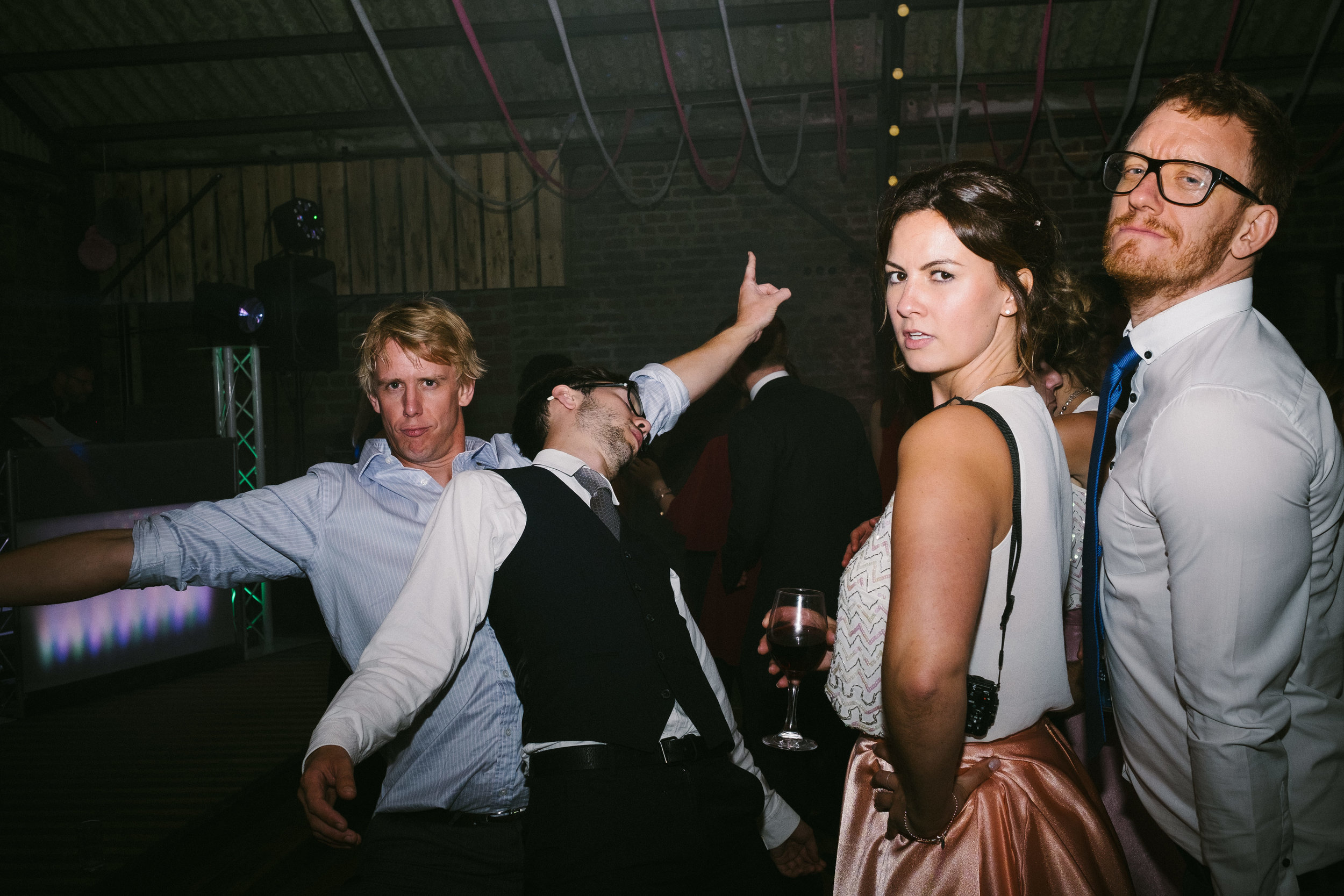 Guests pose on the dancefloor at Dale Farm Yorkshire
