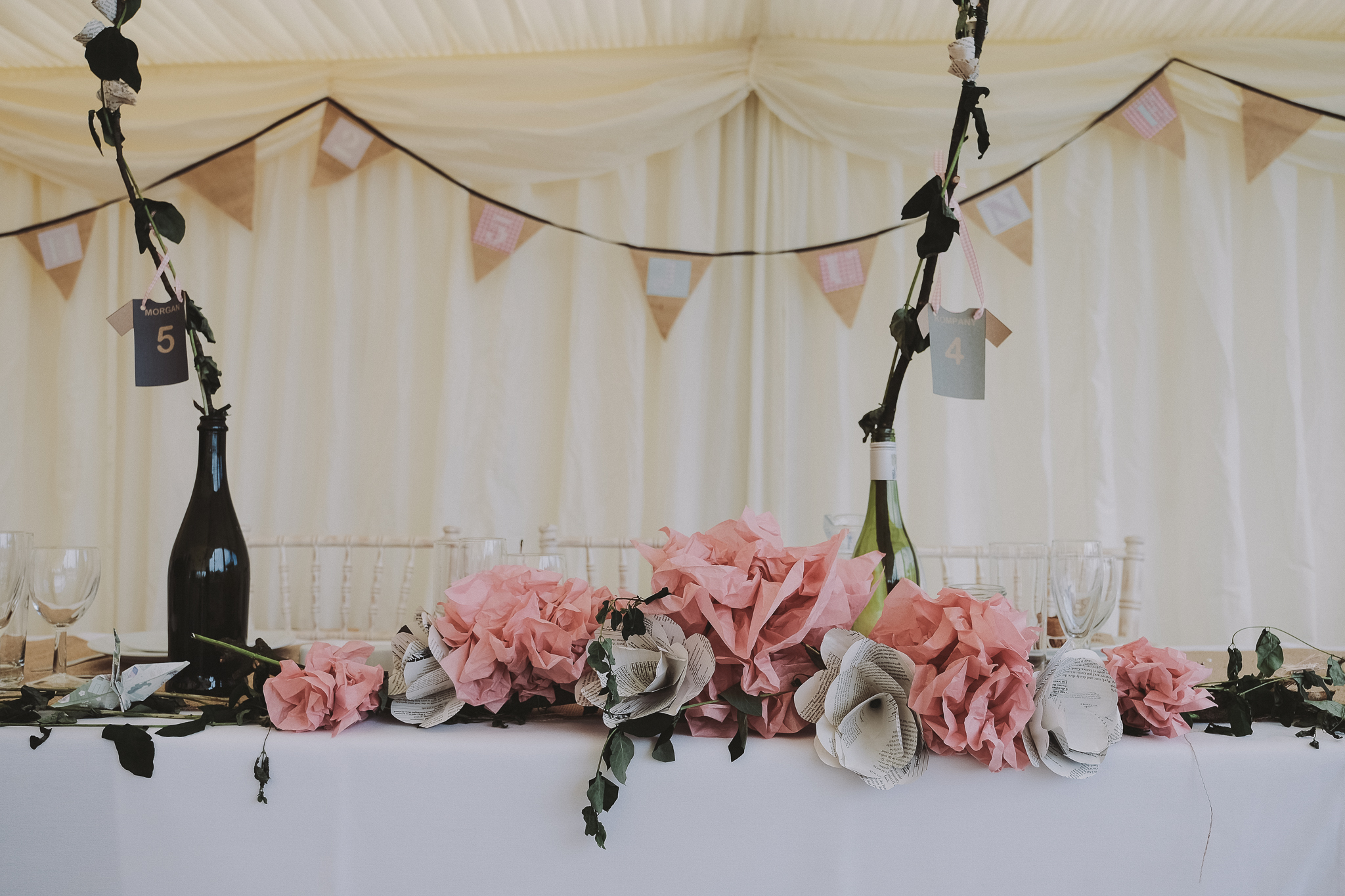 Close up of homemade flower centrepiece on top table