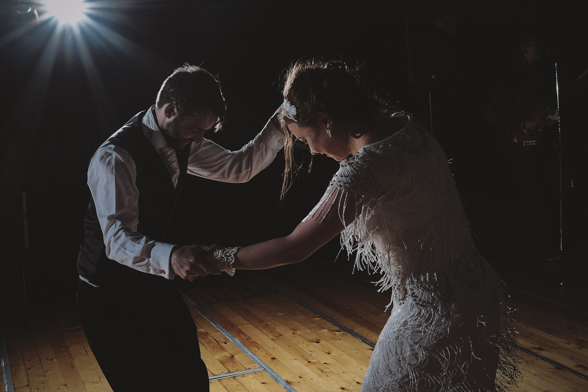 Bride and groom first dance at wedding in Northumberland