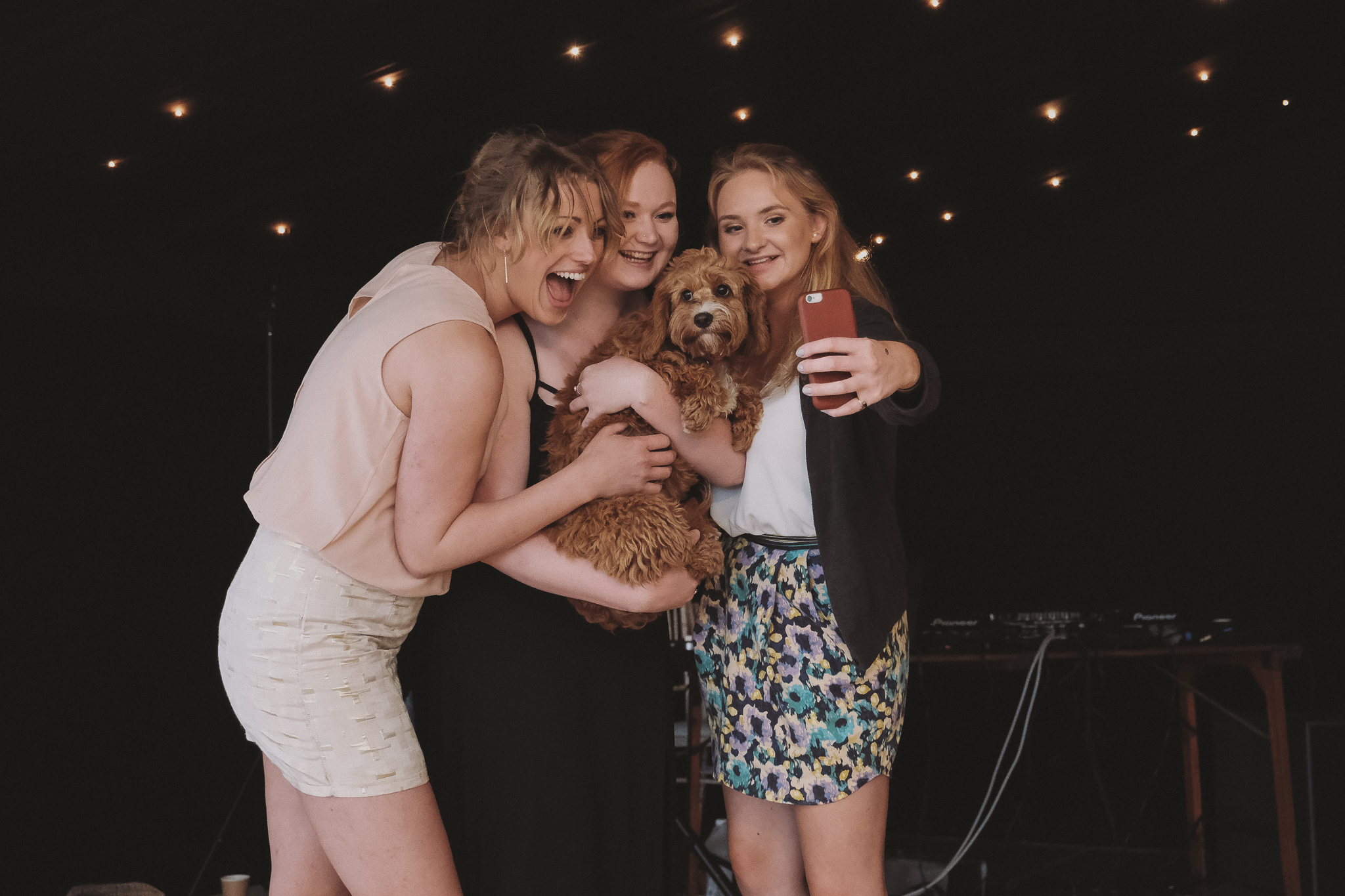 Wedding guests take a selfie including a small dog