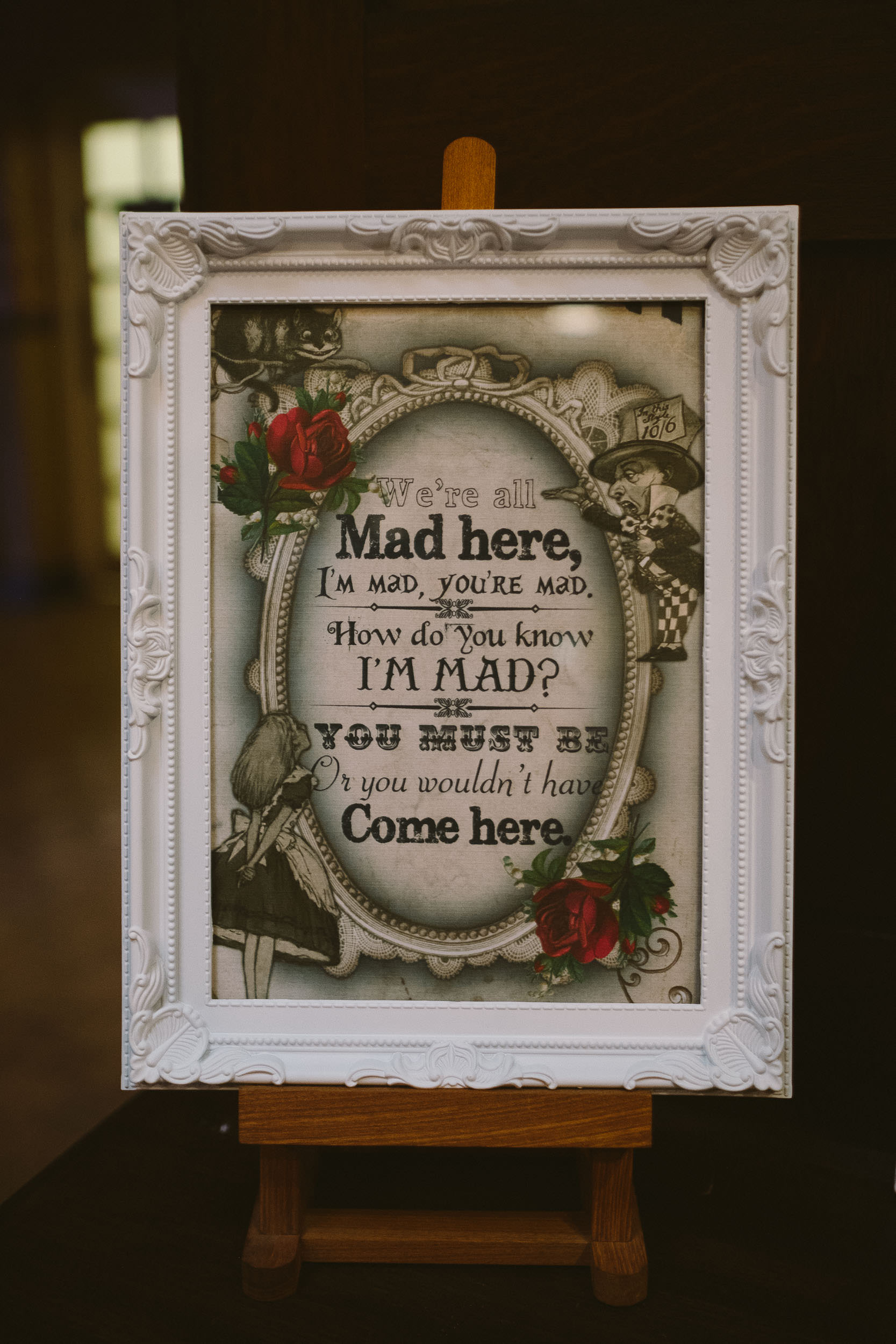 Wedding welcome sign from Alice in Wonderland