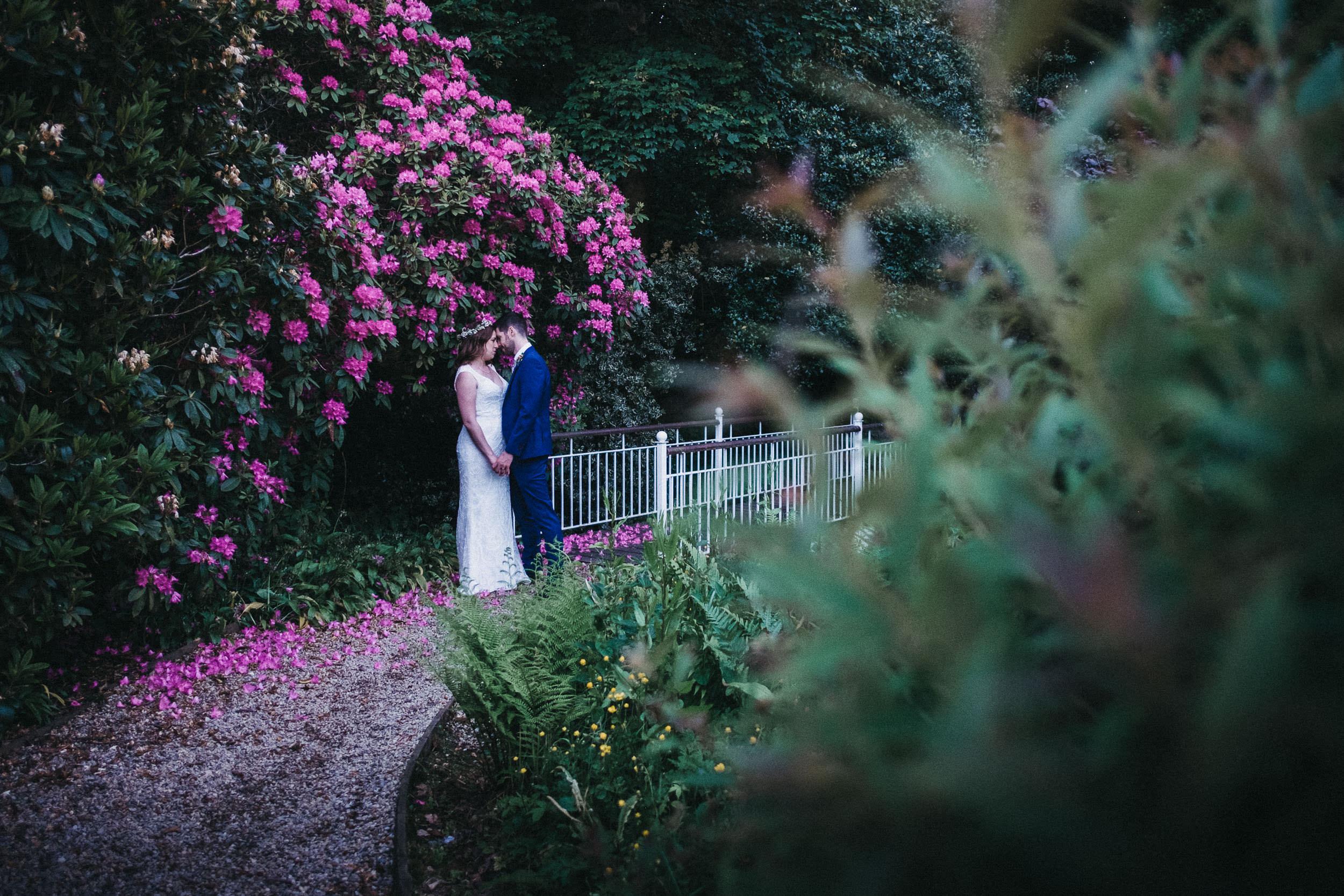 Bride and groom hold hands against a backdrop of pink flowers at Judges at Kirklevington