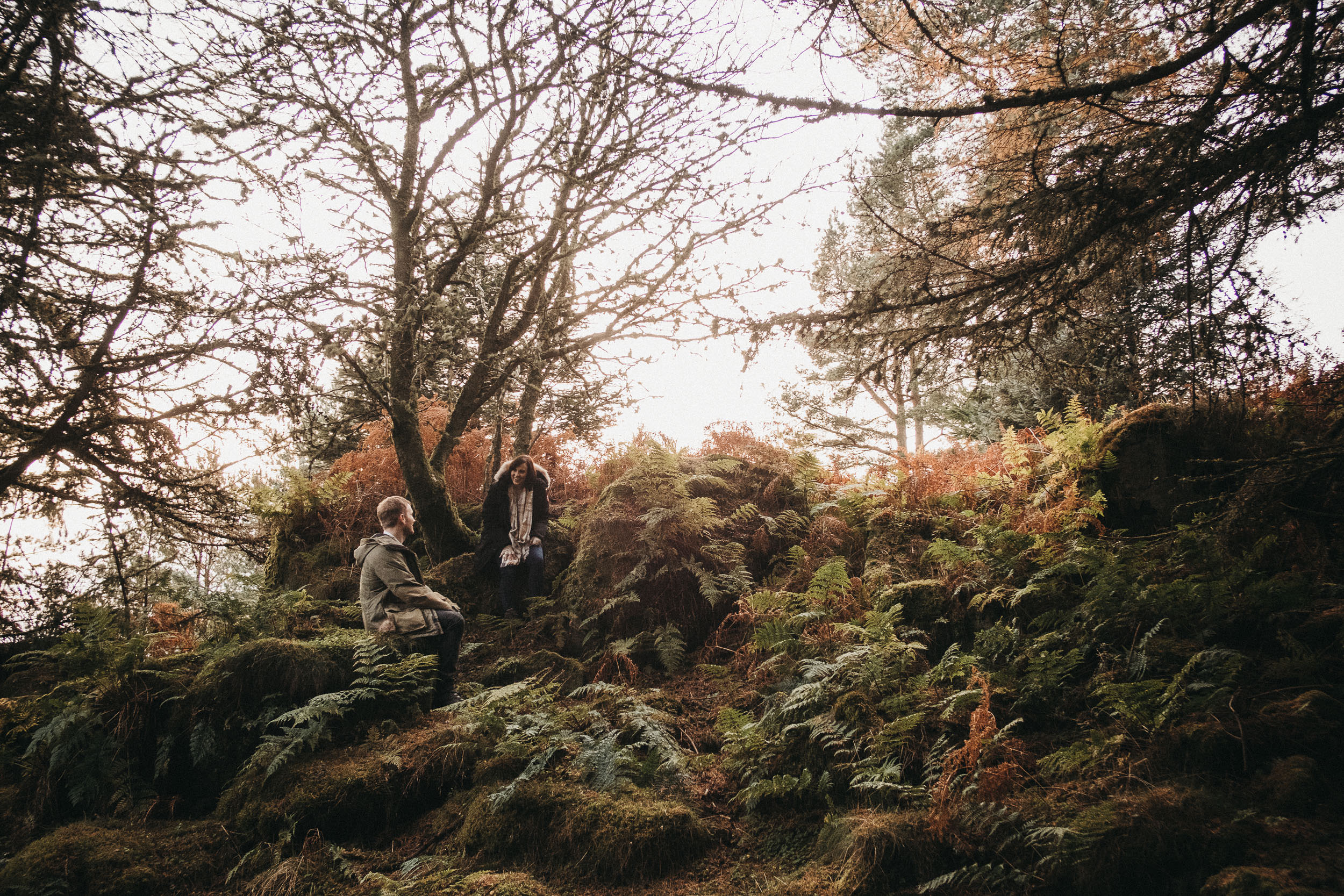 Couple talk and laugh while standing on a hill covered in ferns