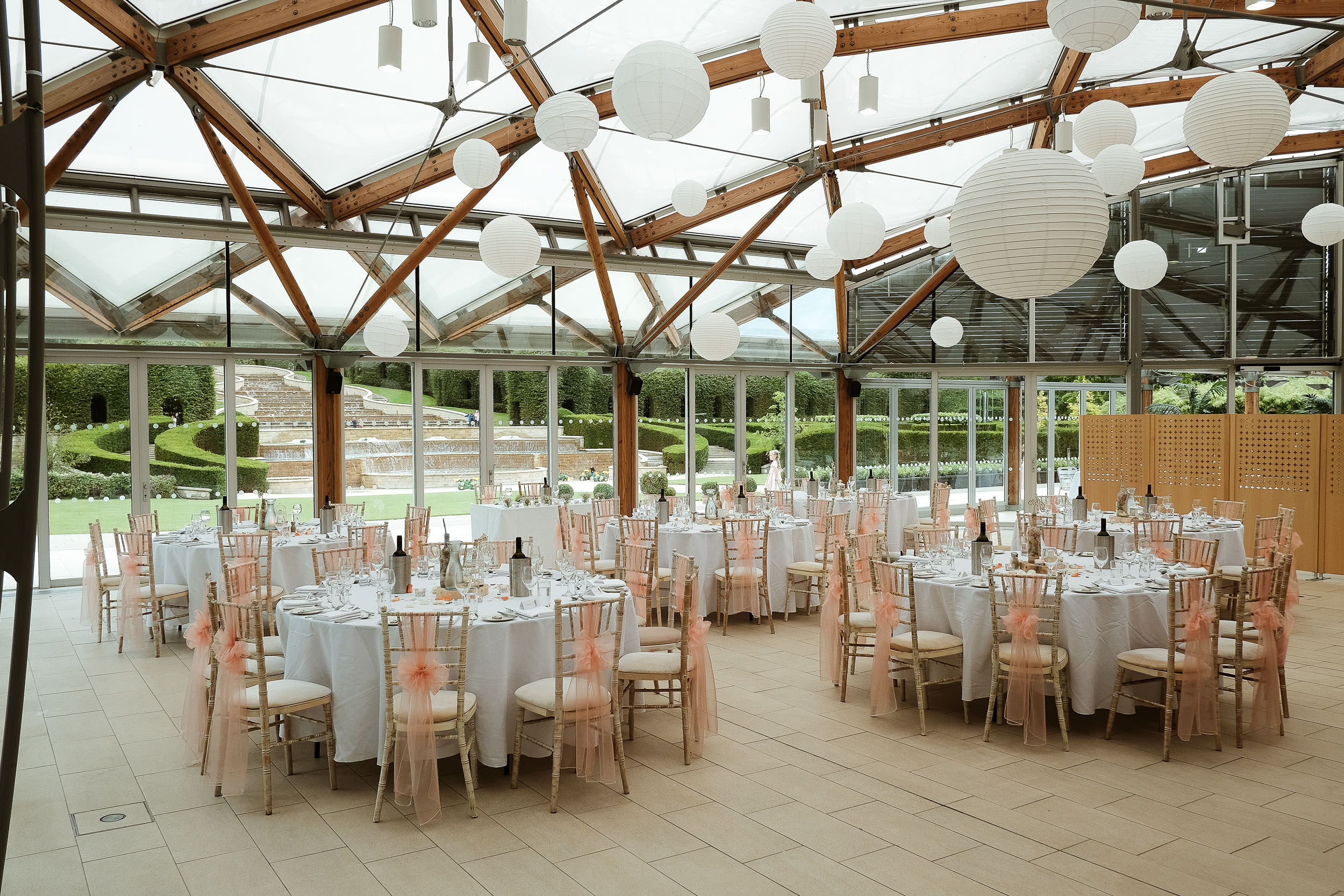 The Alnwick Garden pavilion set up for wedding reception