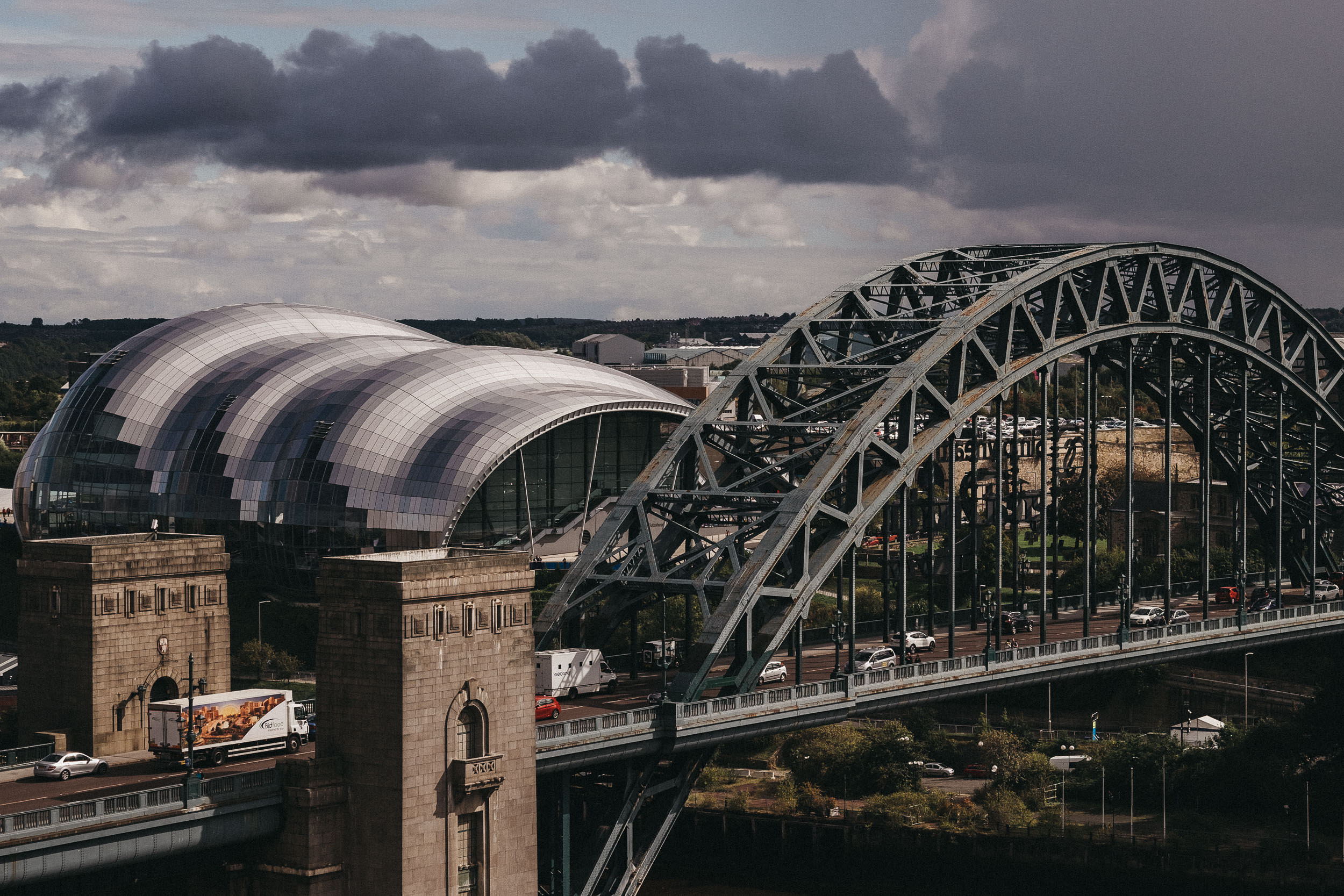 View of the Tyne Bridge and Sage from the roof of the Vermont Hotel