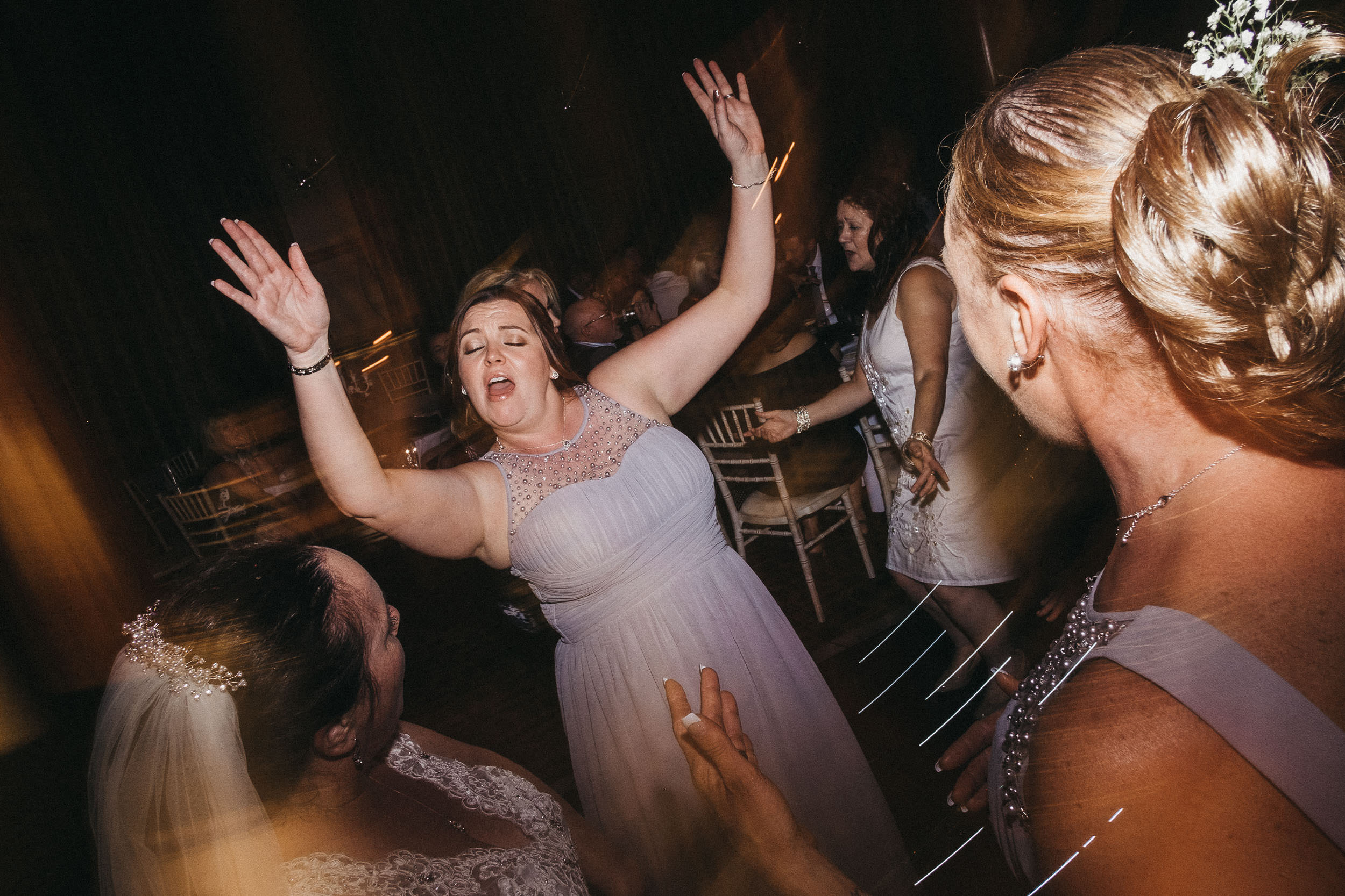 Guests dancing at wedding at Vermont Hotel