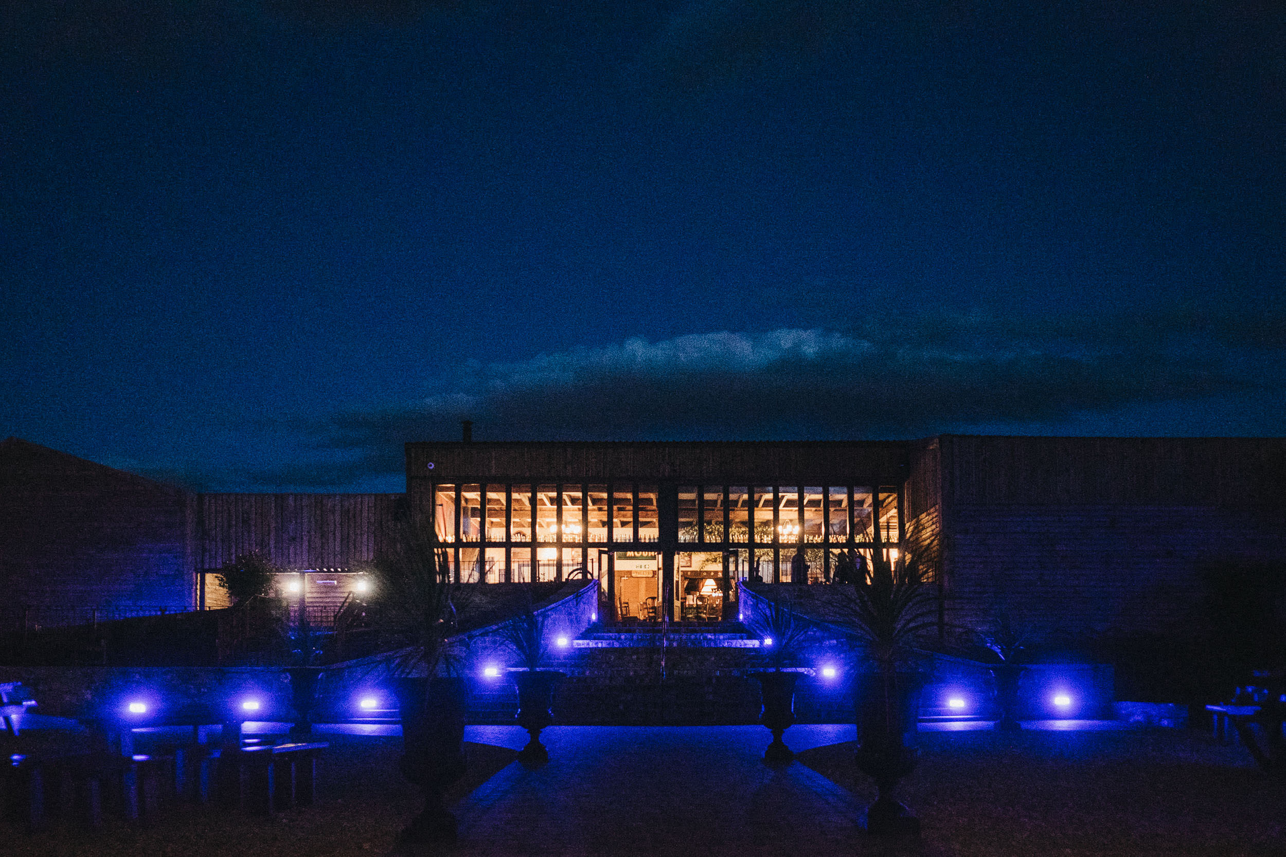 South Causey Inn lit at night for wedding