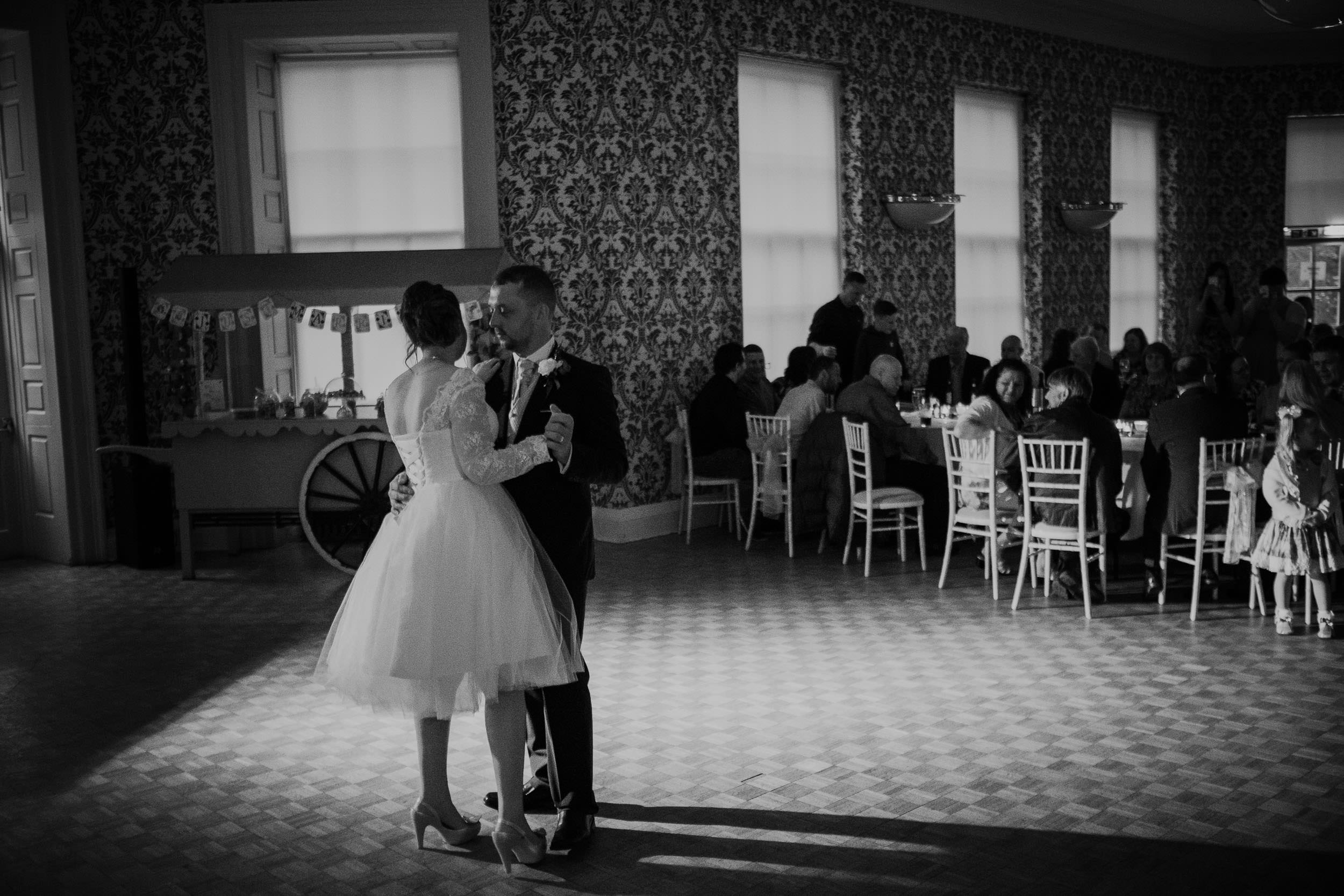 Black and white photo of first dance at Wallsend Hall wedding
