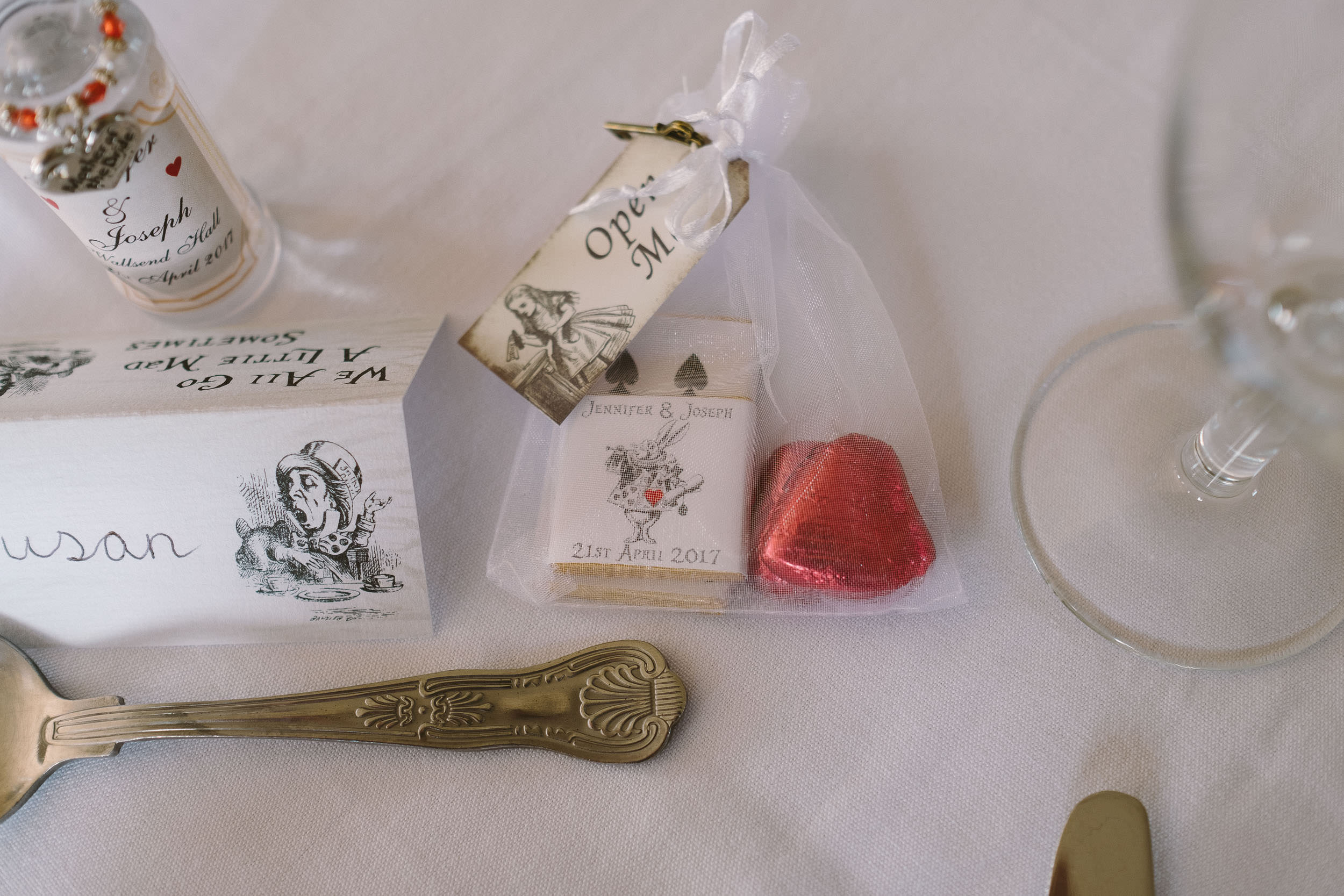 Alice in Wonderland wedding favours at Wallsend Hall