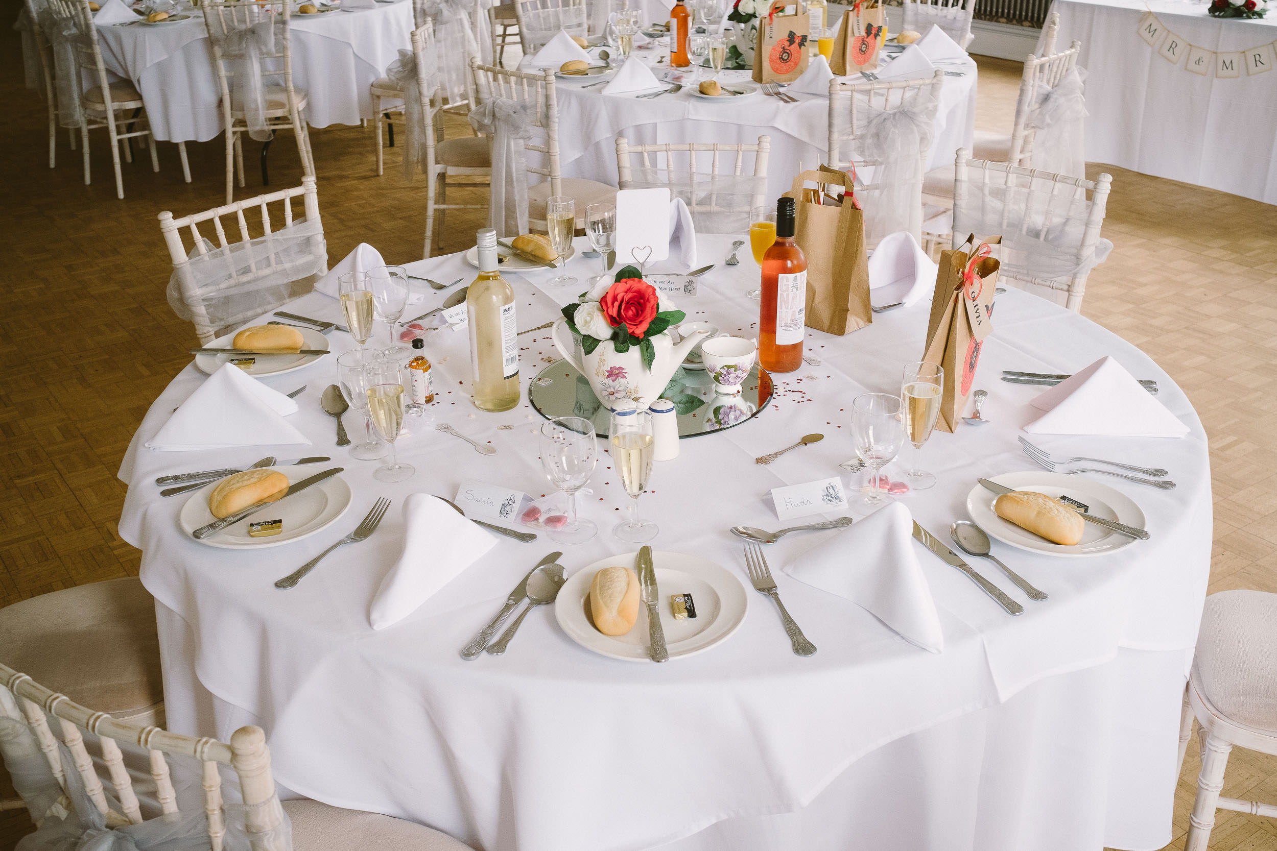Table set up with Alice in Wonderland theme at Wallsend Hall