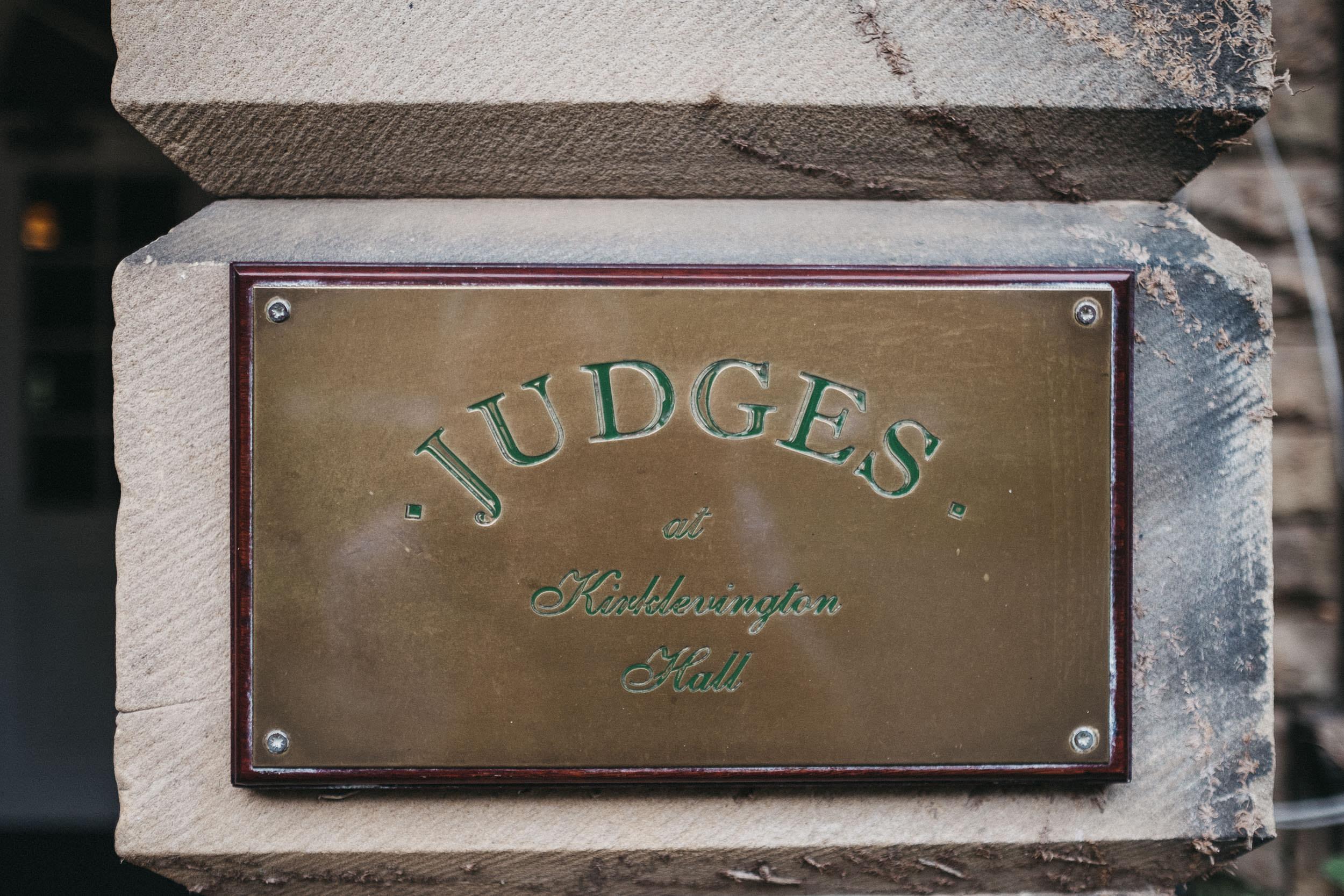 Brass sign of Judges at Kirklevington