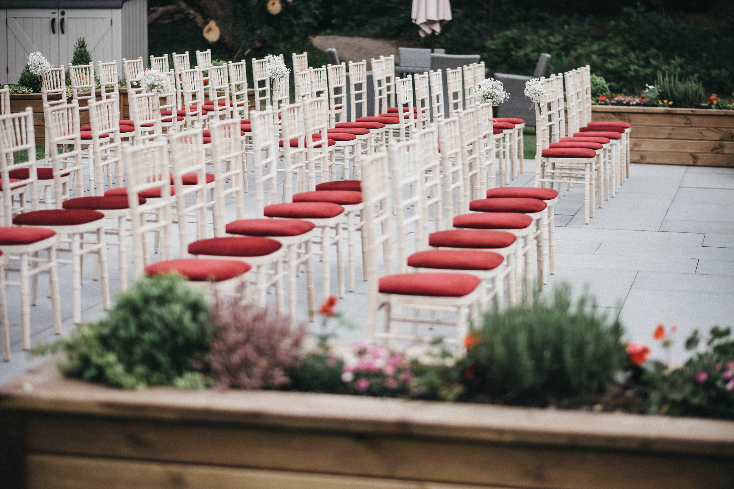 Chairs set up for outdoor wedding at Judges at Kirklevington