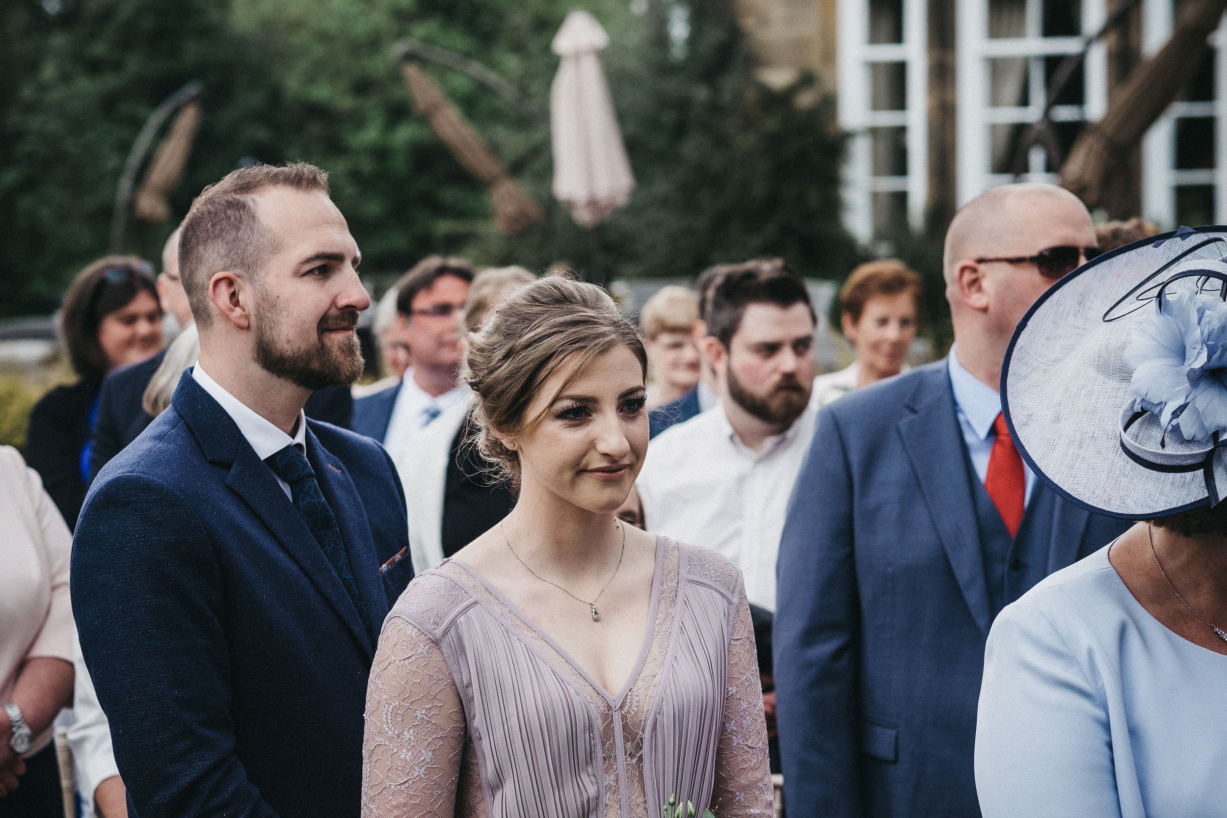 Emotional guests at wedding at Judges at Kirklevington Hall