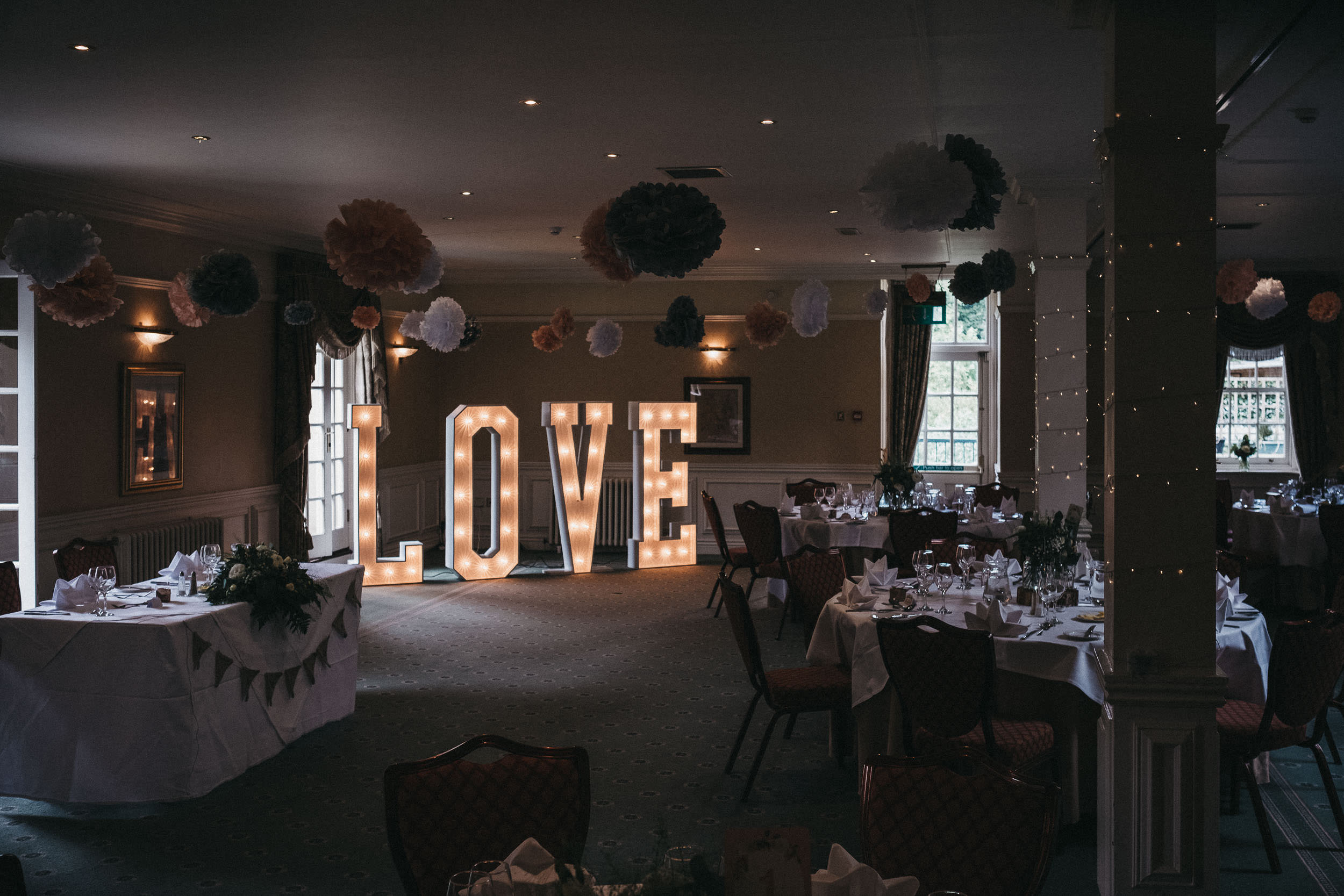Reception room of Judges at Kirklevington with large Love letters