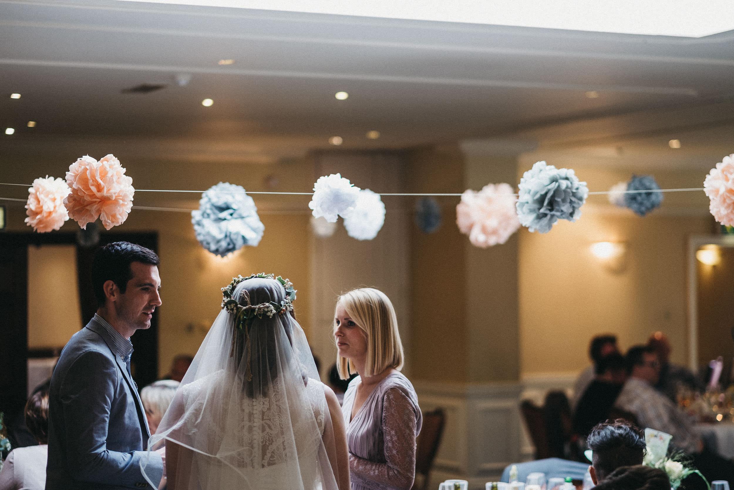 Bride talking to guests at Judges at Kirklevington