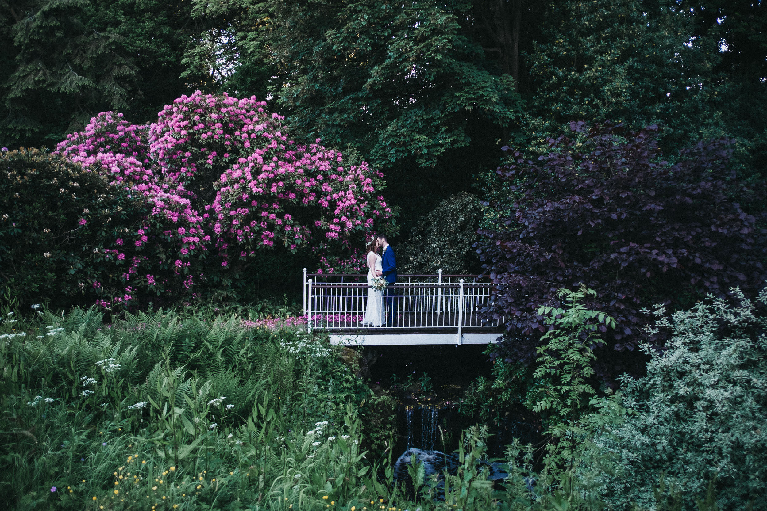 Bride and groom kiss on bridge with pink flowers behind