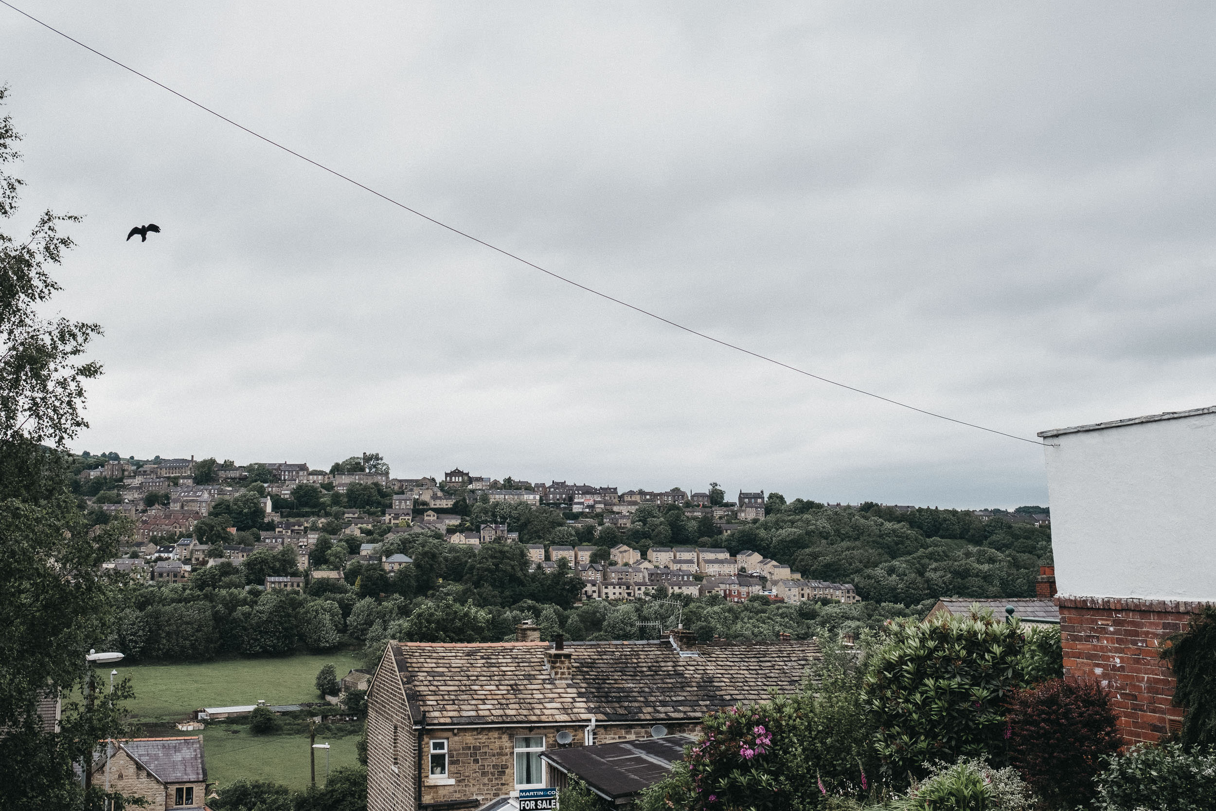 A village in Yorkshire with a bird flying above the houses