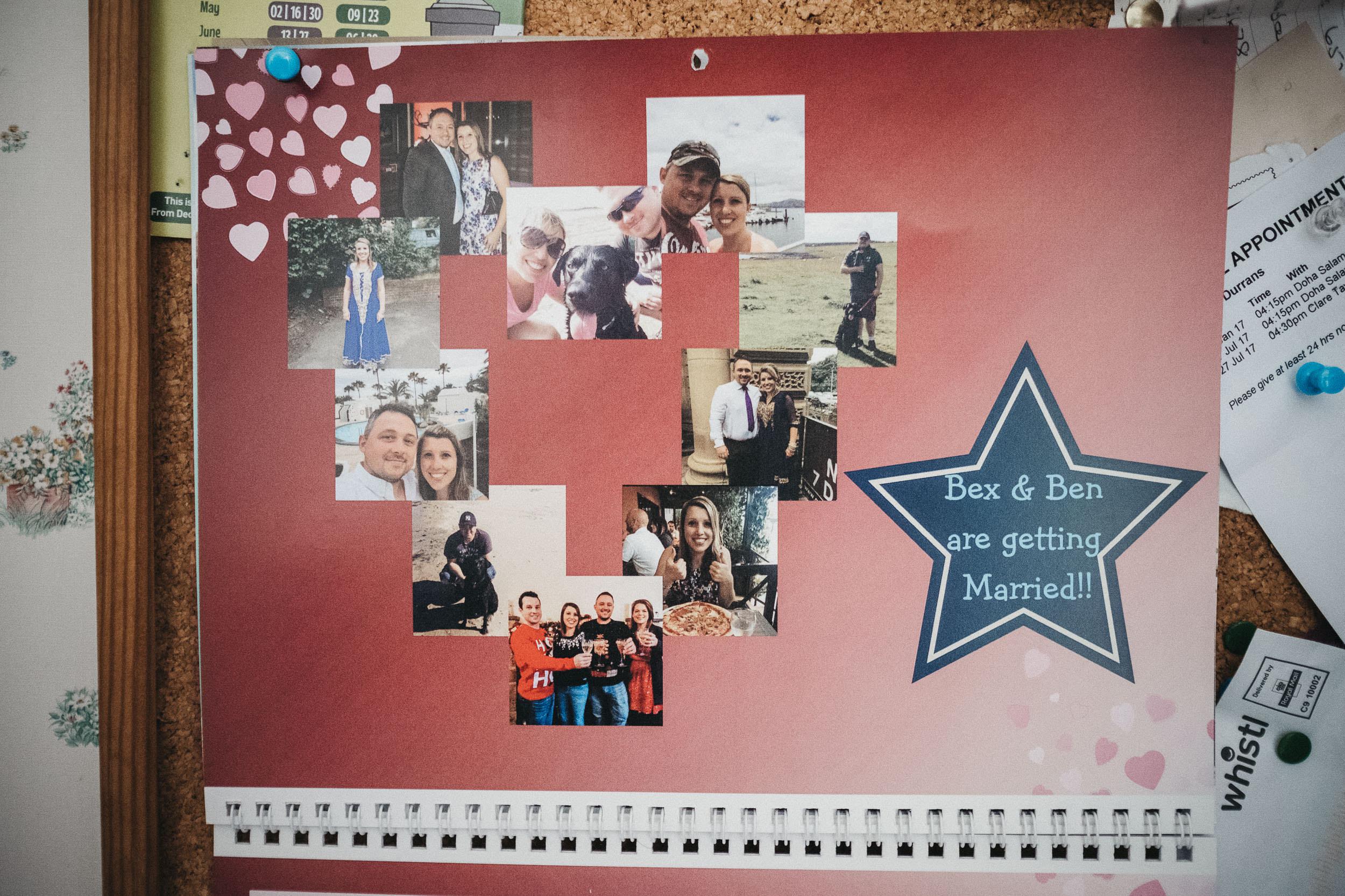 A calendar showing a countdown to Rebecca & Ben's wedding
