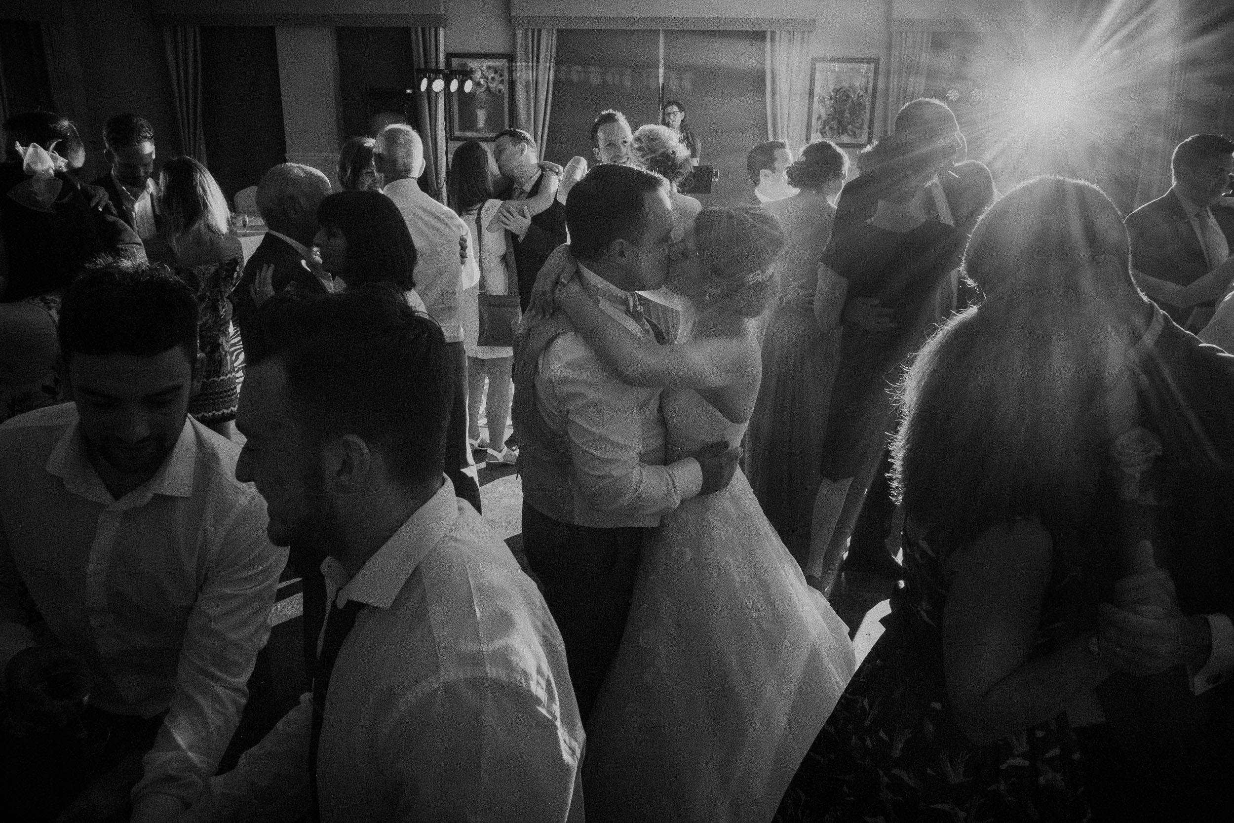 Black and white photo of bride and groom first dance at Bagden Hall