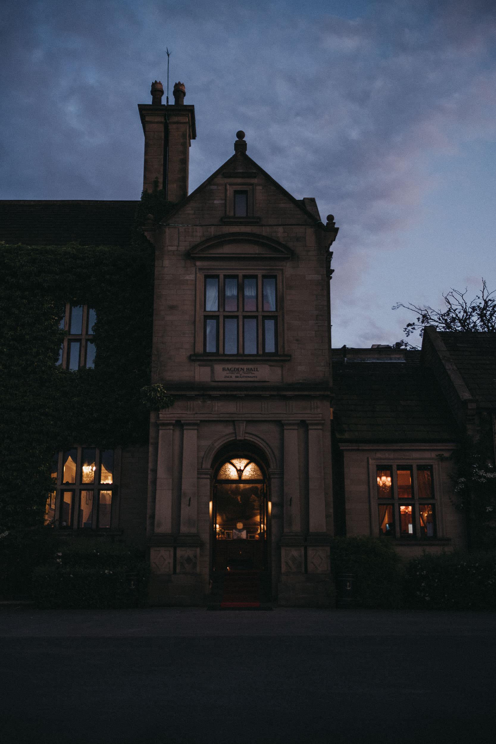 Exterior of Bagden Hall at night