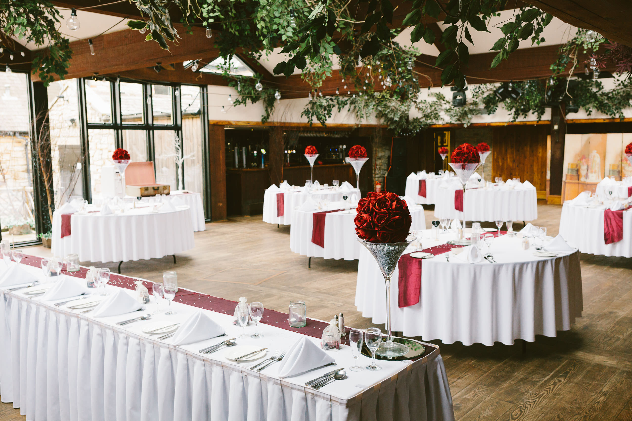 Interior of South Causey Inn set up for wedding
