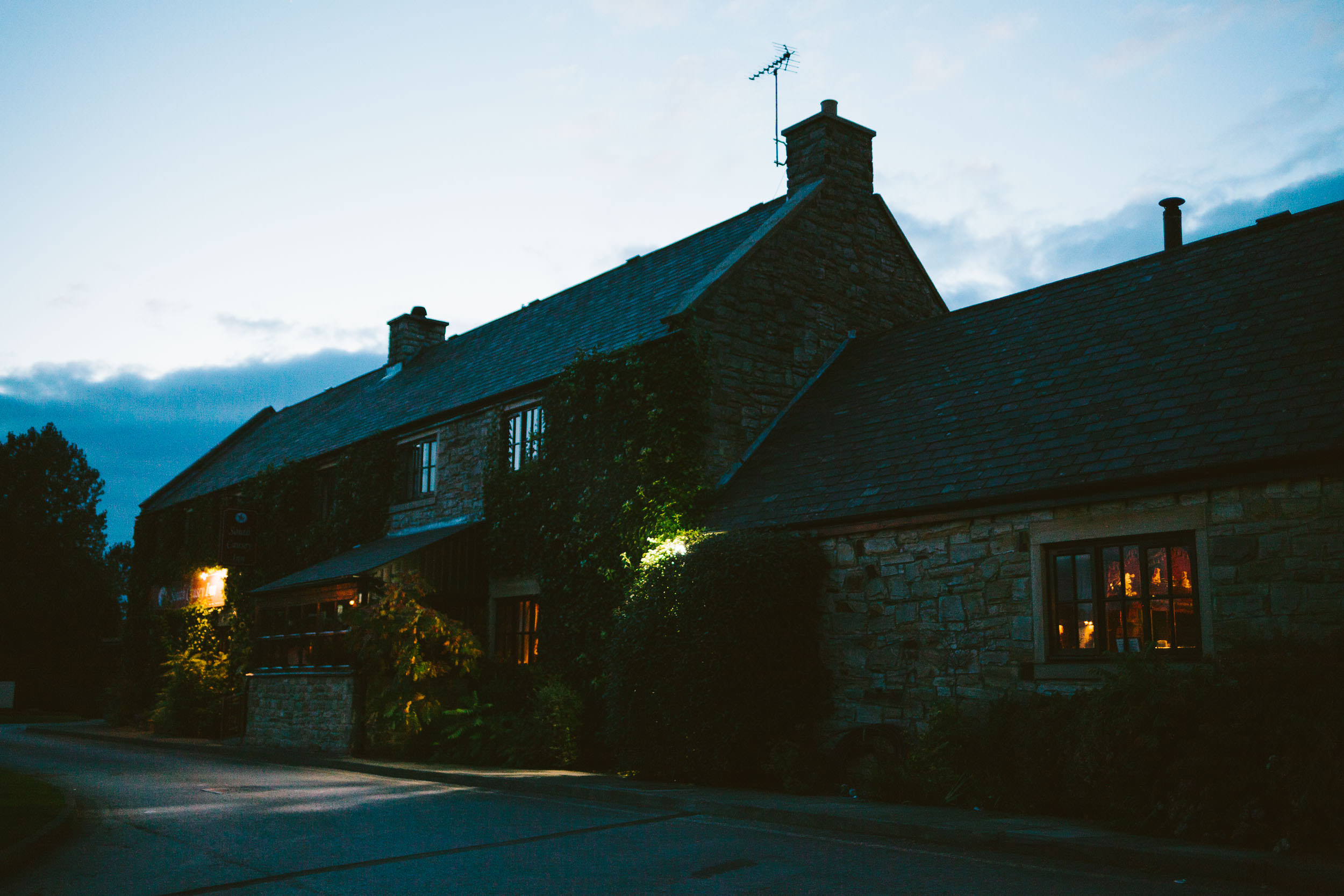 Exterior of South Causey Inn at night