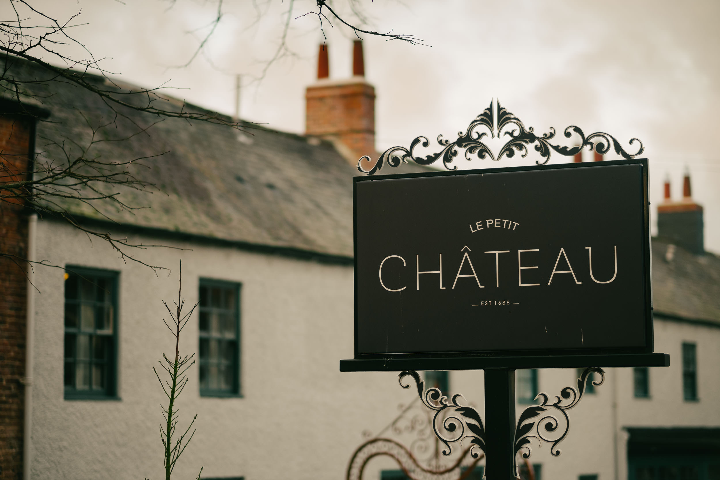 Sign for Le Petit Chateau Northumberland wedding venue