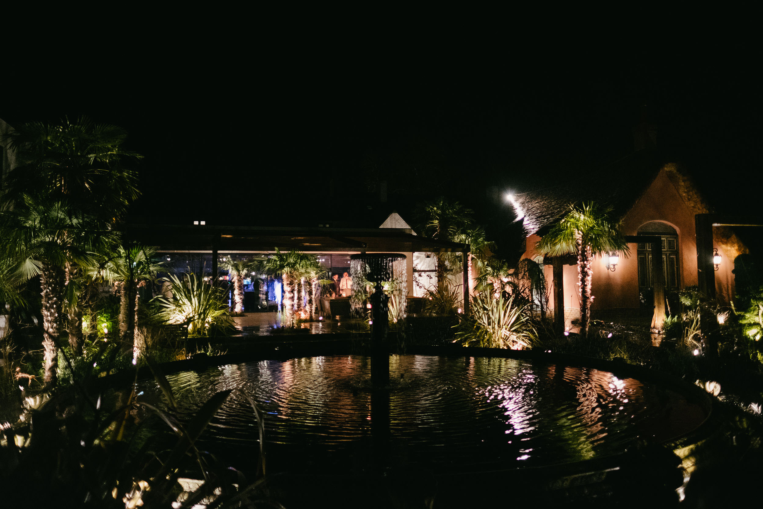 The gardens are lit up at night