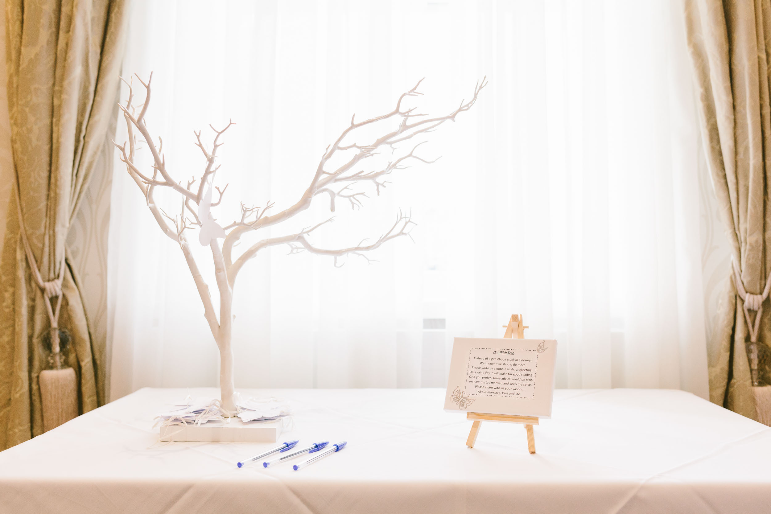 A memory tree at a wedding in Tynemouth