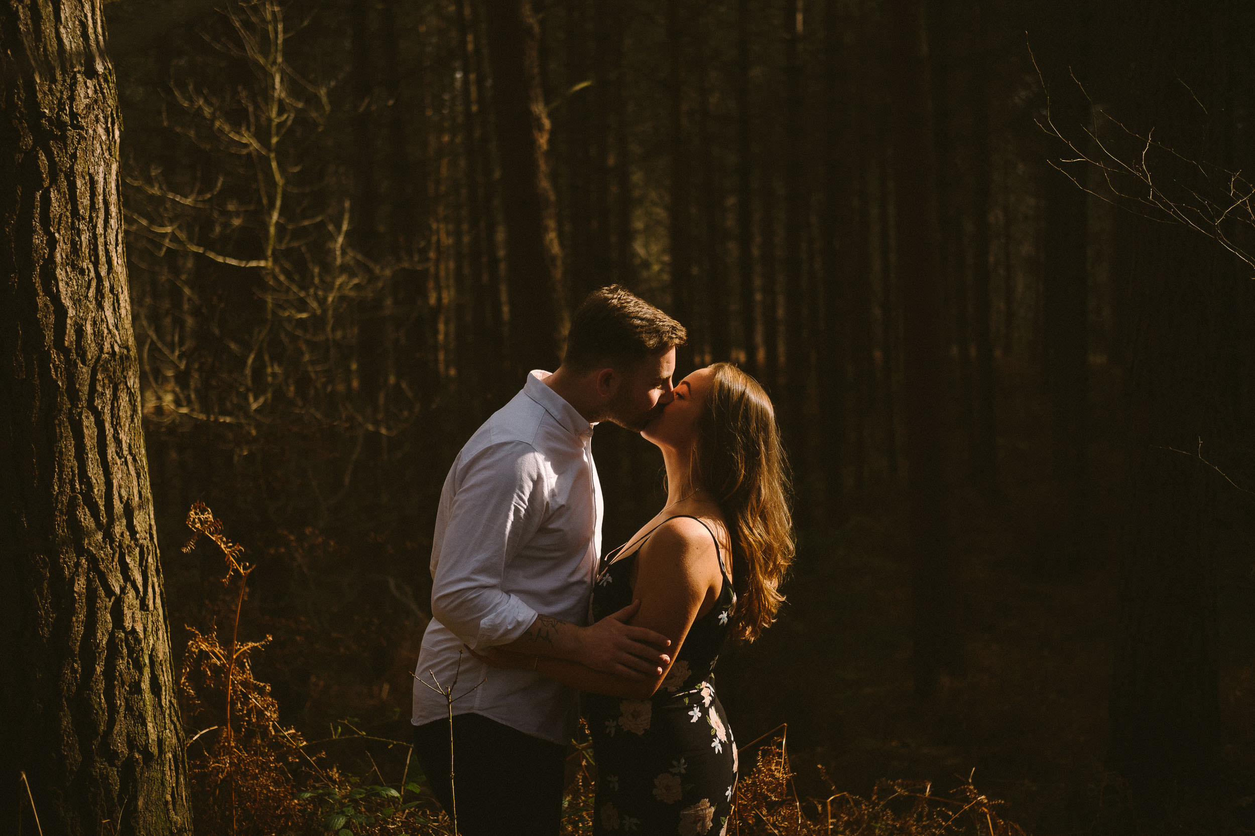 Couple kiss in dramatic sunlight punching through the trees