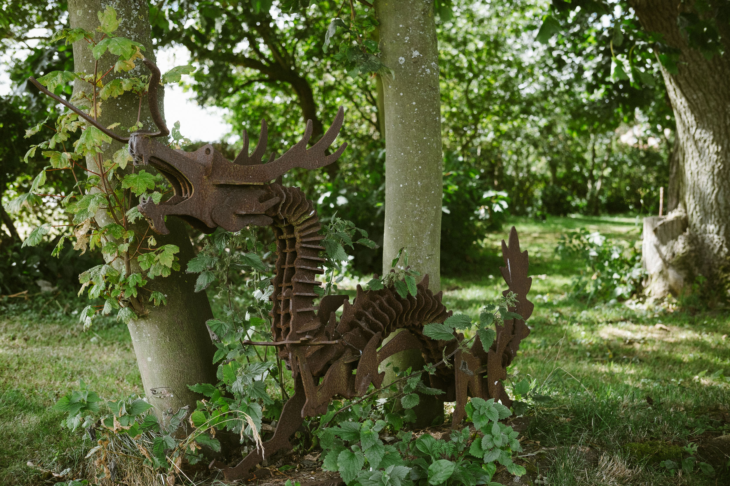 Dale Farm is littered with steel farmyard sculptures