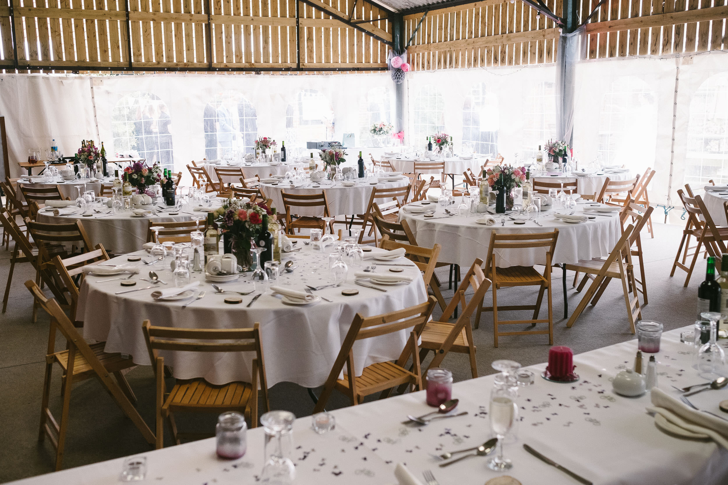 The Open Barn, set up for Katy and Tom's wedding