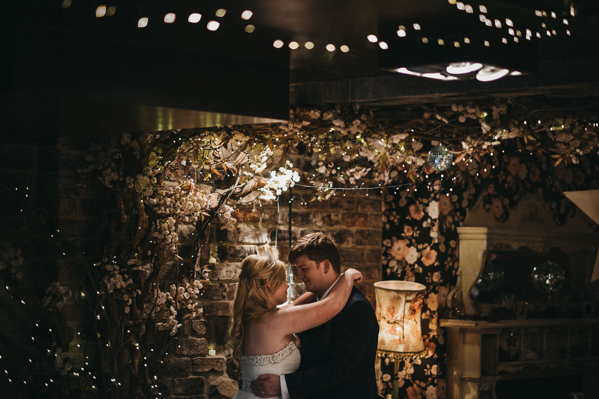 Twinkling fairy lights, blossom trees and exposed brickwork at As You Like It.
