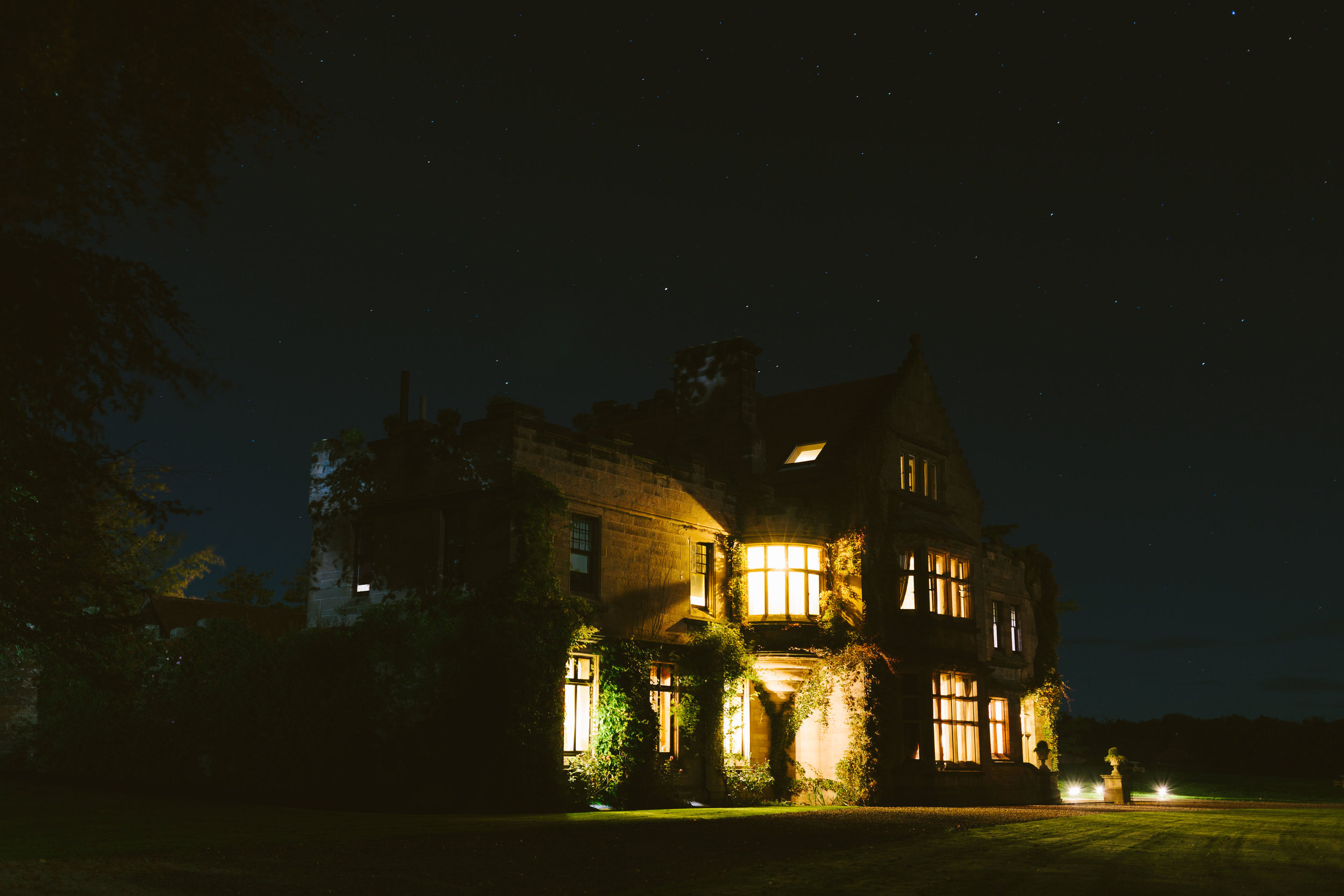 Ellingham Hall in Northumberland at night.